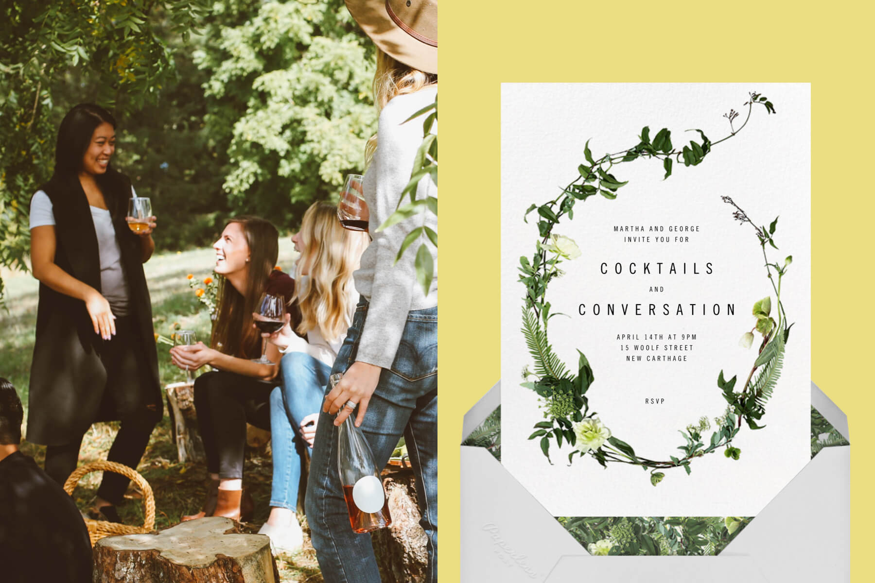 """Left: Photo of a group of young friends drinking wine in the park.   Right: """"Chincoteague"""" invitation by Paperless Post featuring a floral design on a yellow background."""