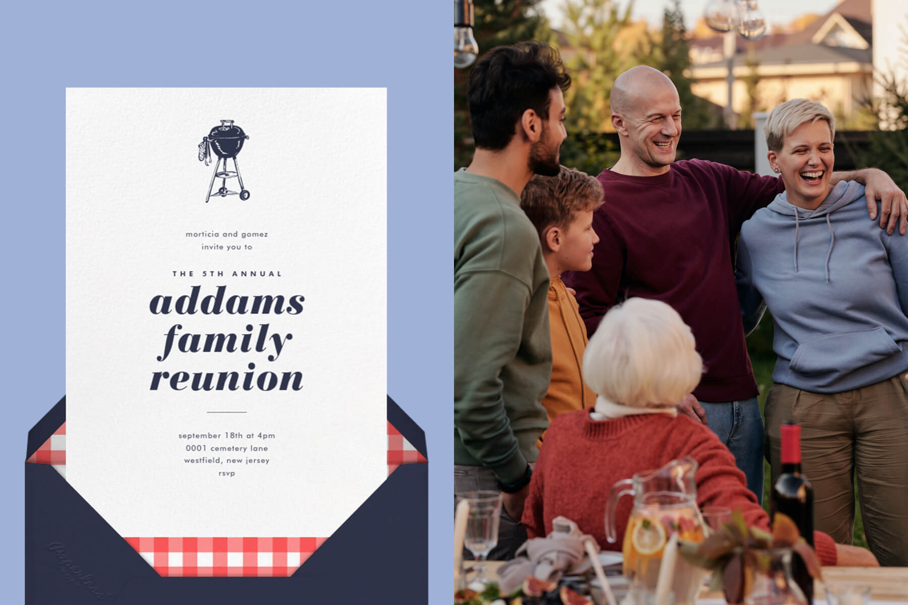 """Left: """"White"""" invitation by Paperless Post featuring an illustration of a grill on a blue background.   Right: Photo of a family gathering around an outdoor dinner table, smiling and hugging."""