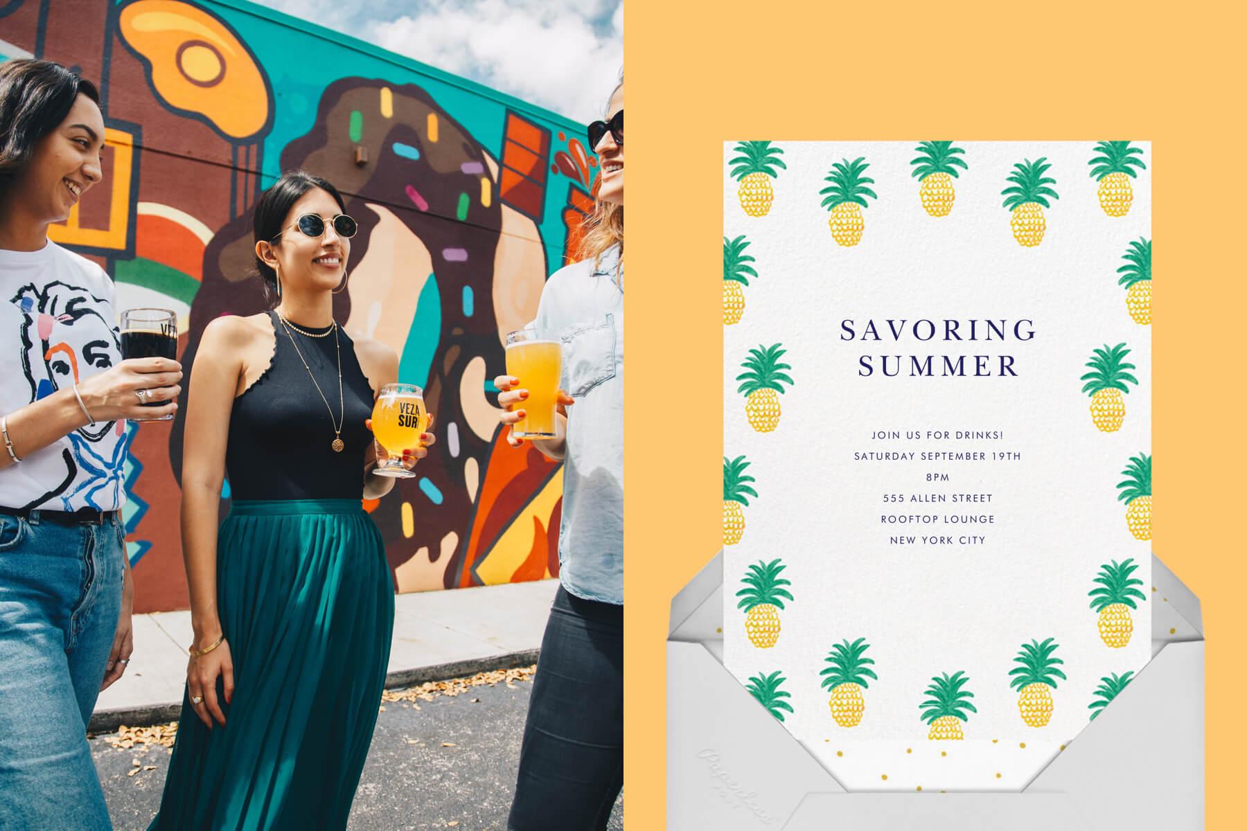 """Left: Three young friends drinking beer outdoors in front of a graffiti wall.   Right: """"Pineapple Party"""" invitation by Linda and Harriet for Paperless Post featuring illustrations of pineapples on a yellow background."""