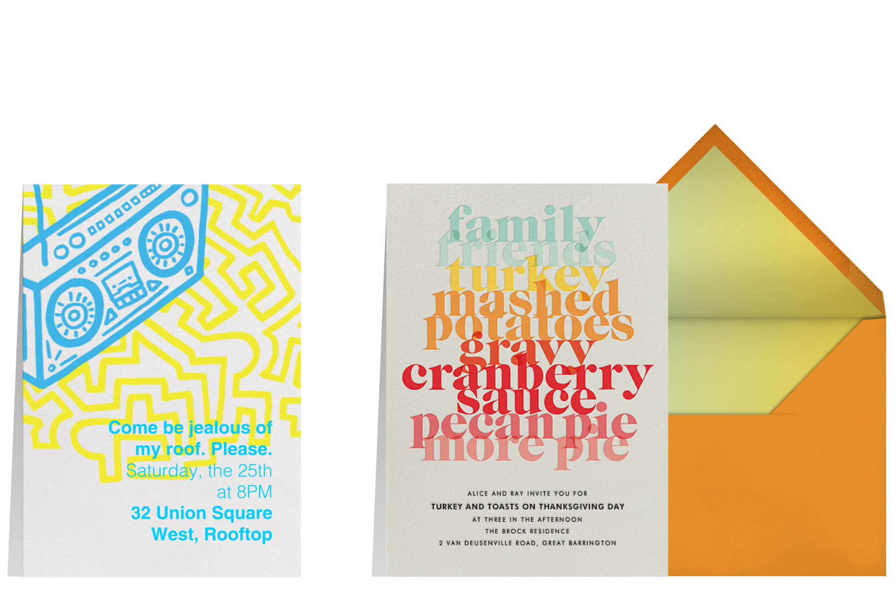 """Left: """"Block Party"""" invitation by Paperless Post featuring an illustration of a boombox.   Right: """"Thanksgiving Essentials"""" invitation by Paperless Post featuring graphic type treatments listing out common words associated with Thanksgiving."""