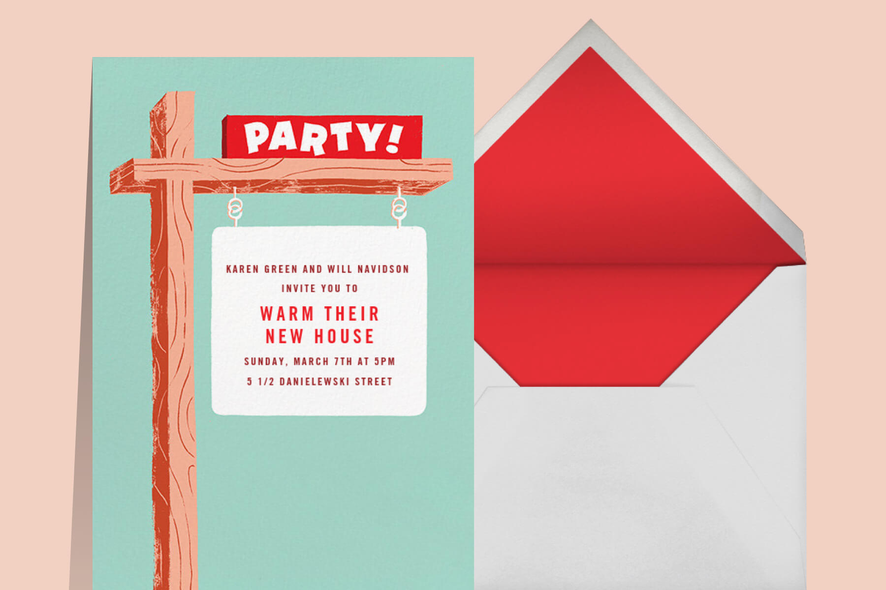 """An invitation with a home for sale sign that reads """"party."""""""