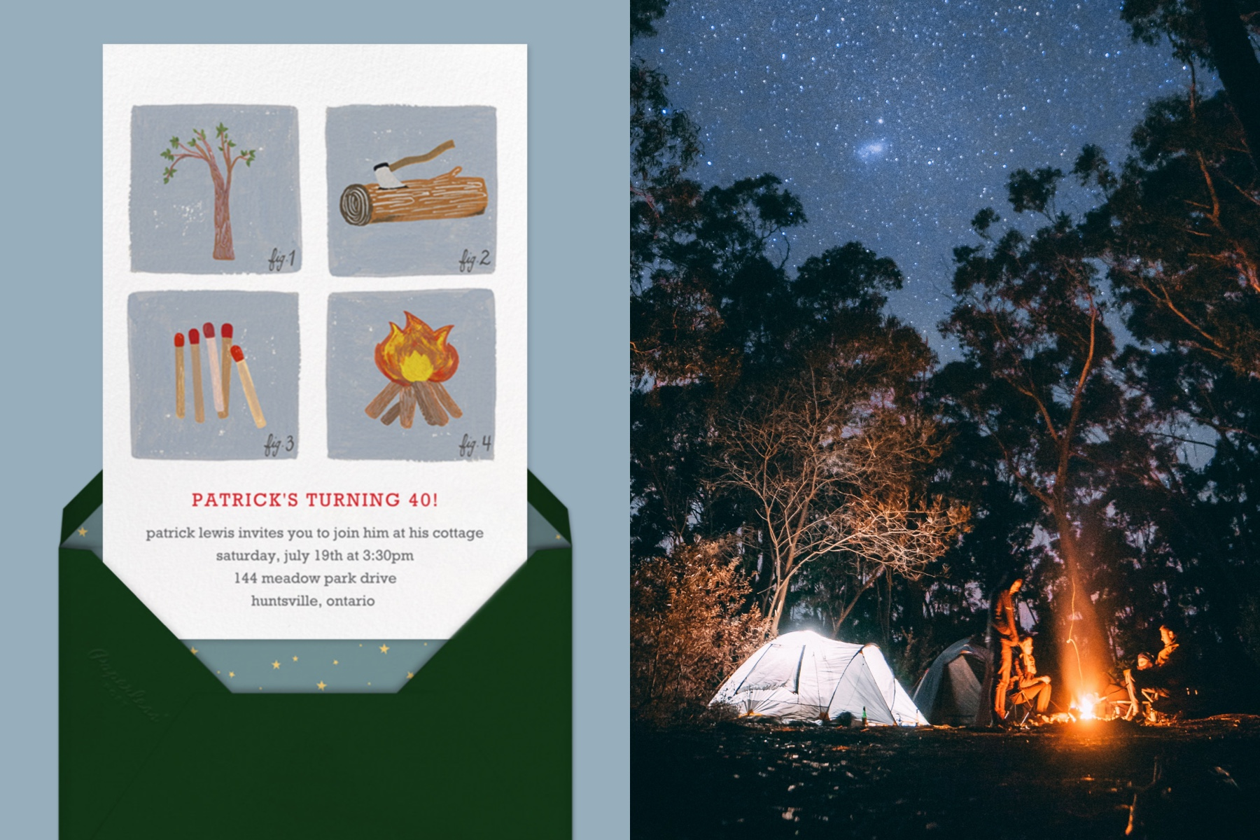 """Left: """"How to Build a Fire"""" Invitation by Paperless Post, featuring four illustrations of camping activities 
