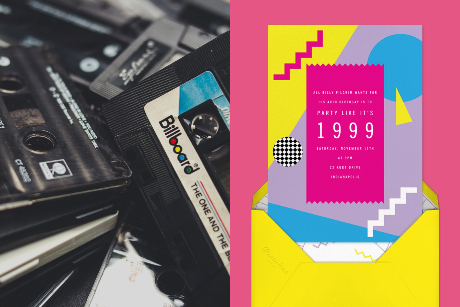 """Left: Pile of Billboard cassette tapes 