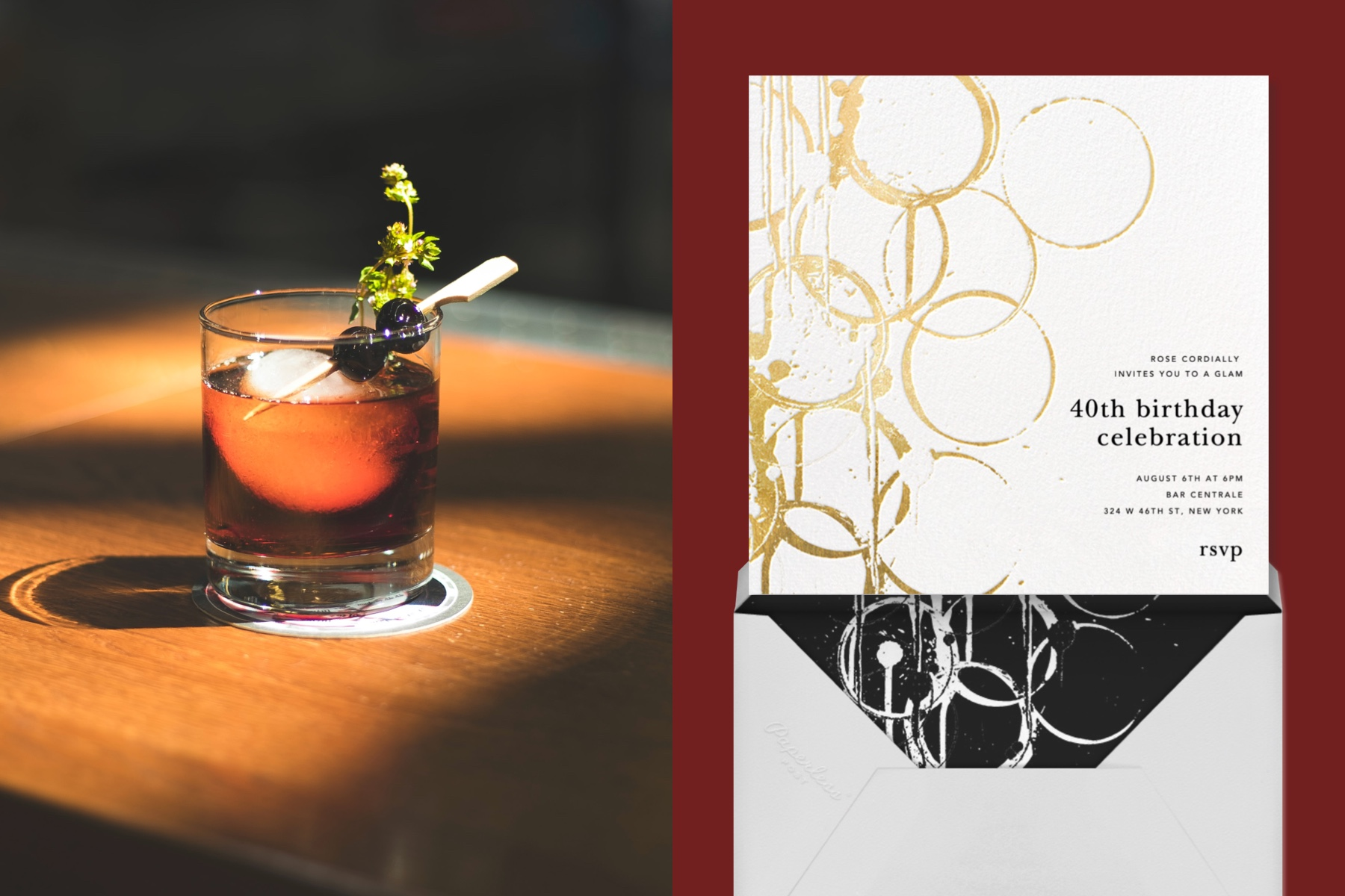 """Left: Photo of a cocktail on a wood table 