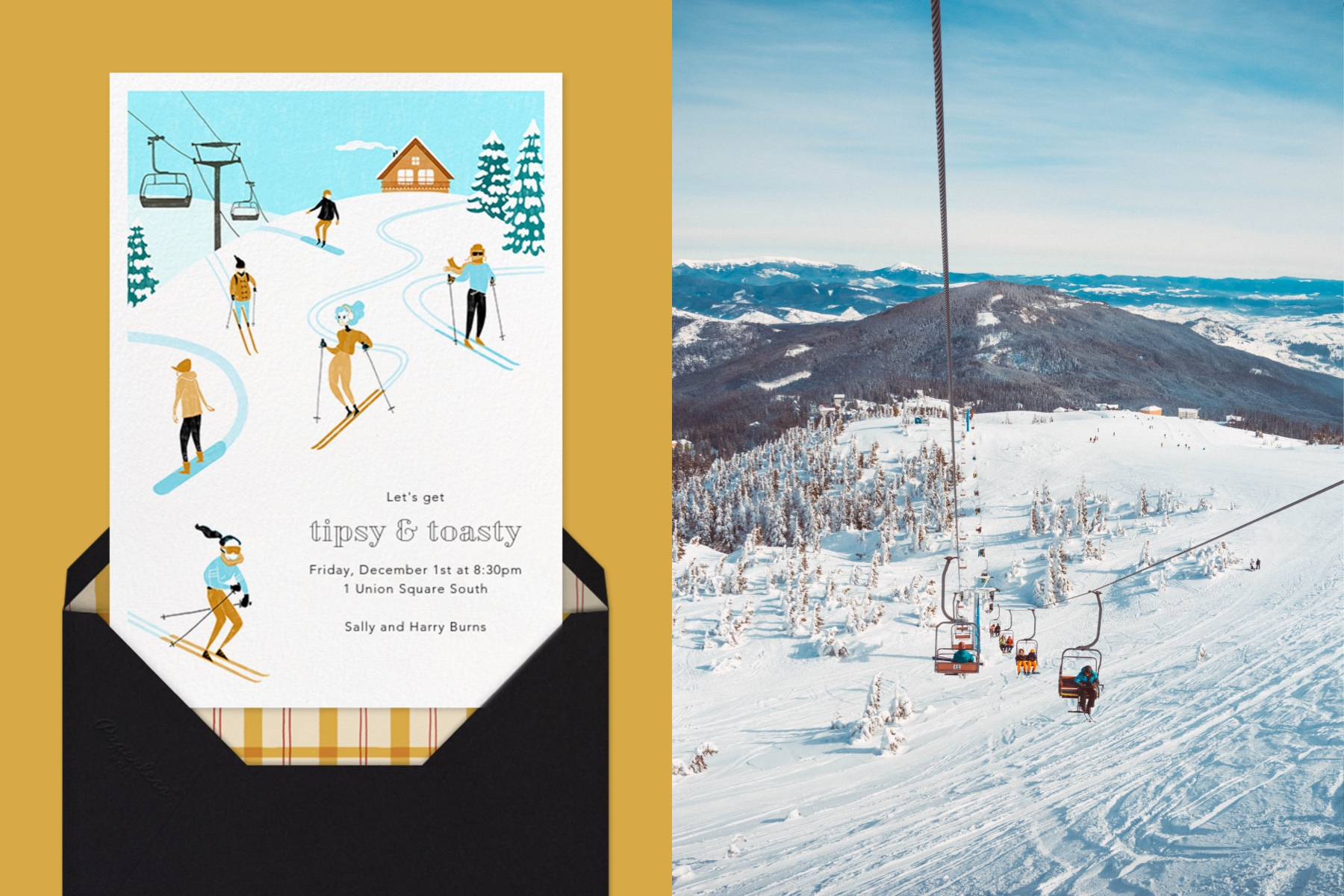 """Left: """"Chalet Shindig"""" invitation by Paperless Post featuring an illustration of skiers on a mountain on a gold background. 