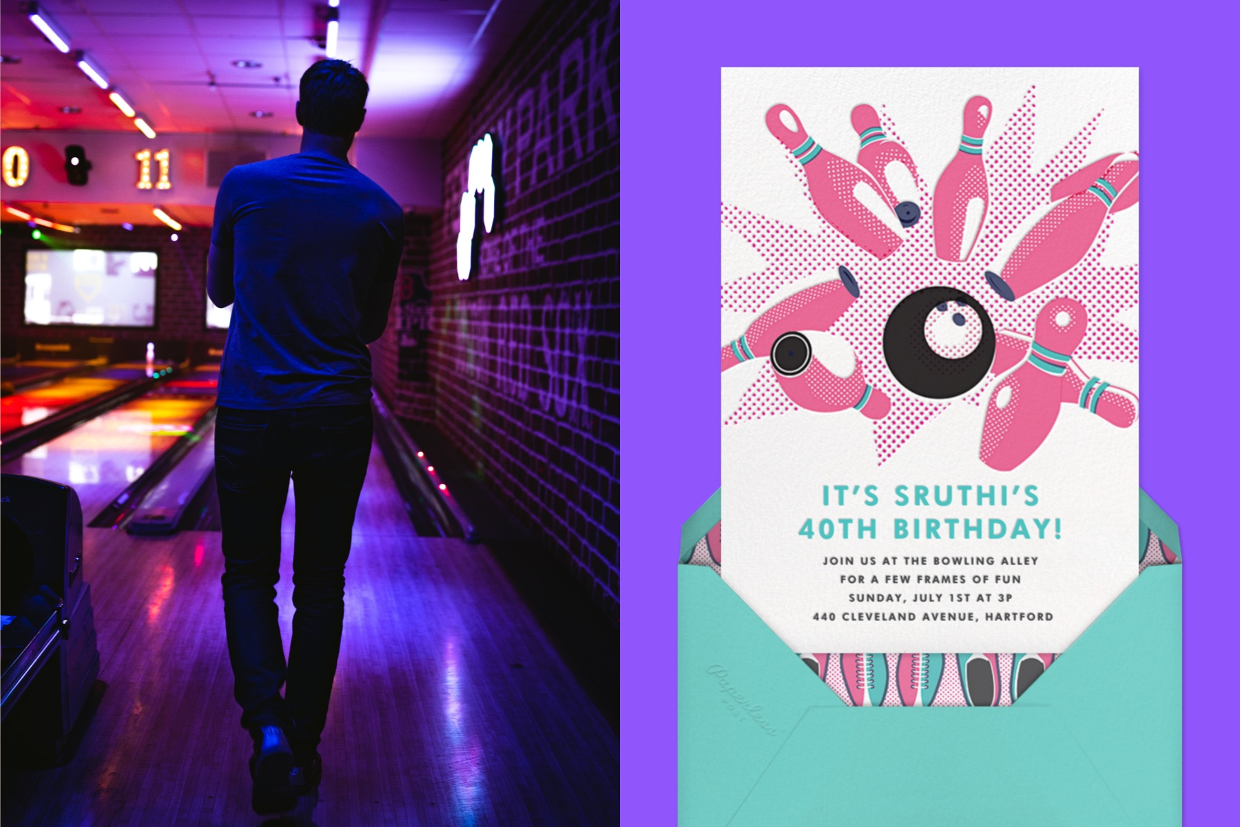 """Left: Photo of a man with his back to the viewer at a bowling alley. 