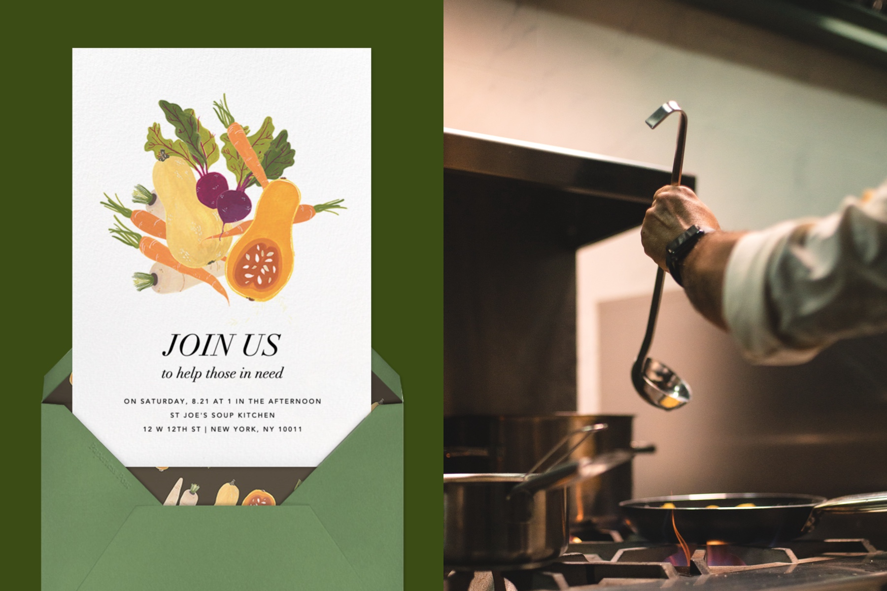 """Left: """"Market Table"""" invitation by Paperless Post featuring an illustration of vegetables like carrots, beets, and squash on a green background. 