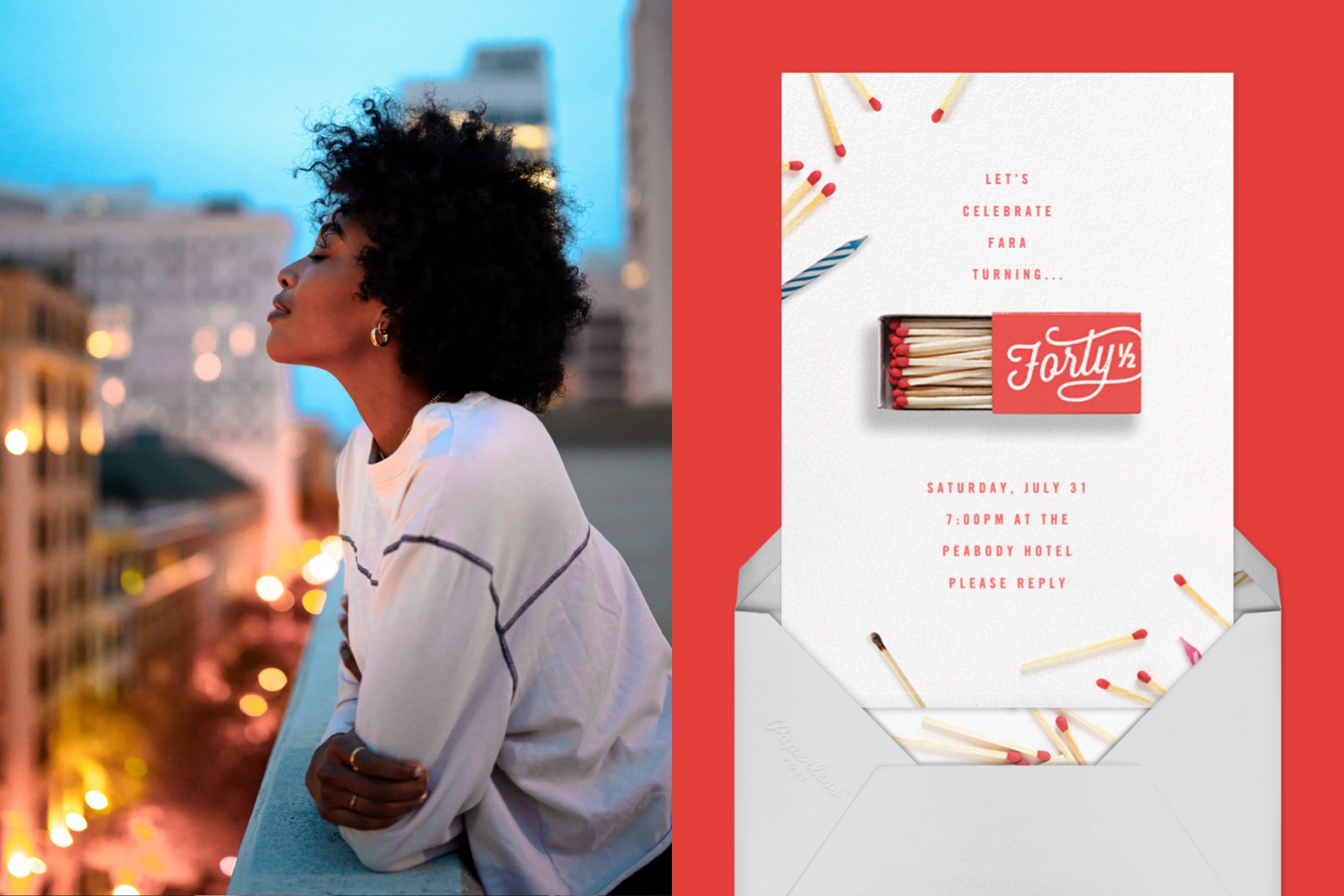 """Left: Photo of a woman enjoying a nice evening on her balcony. 