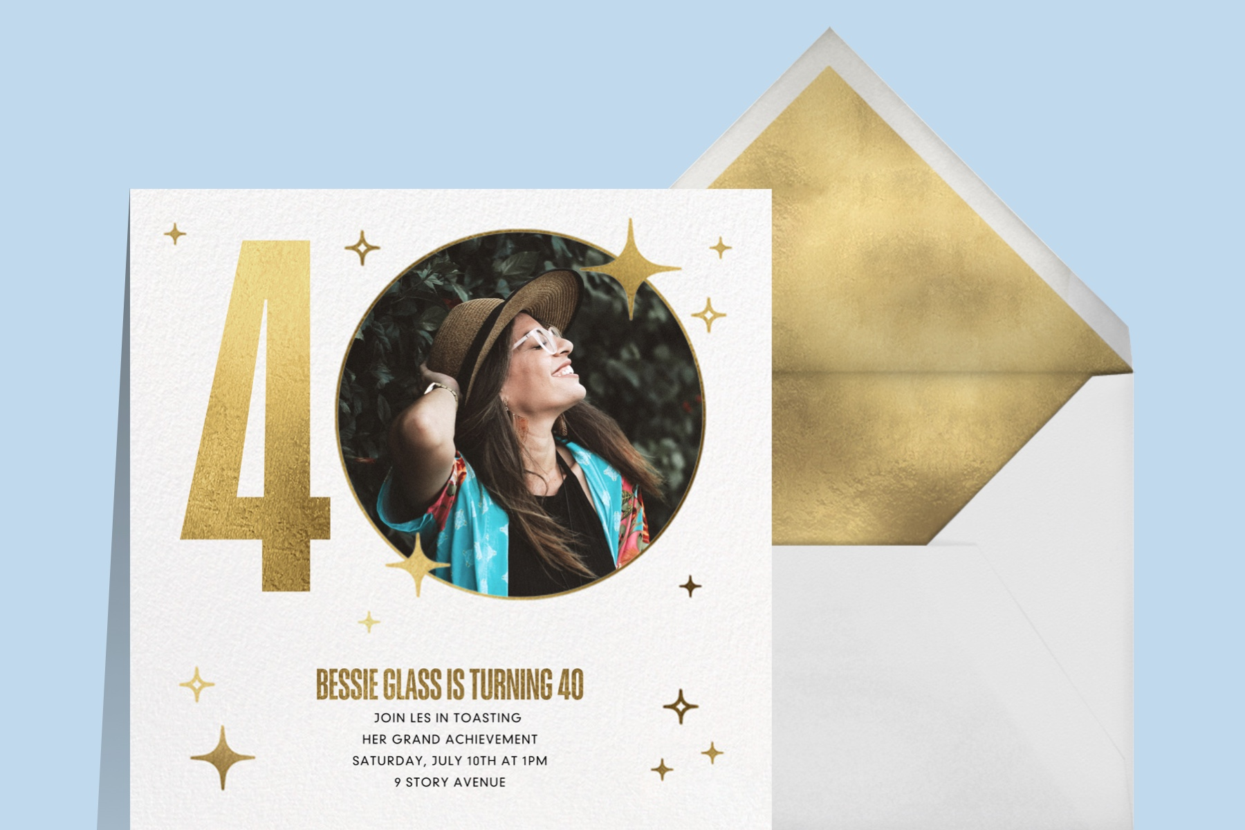 """""""Milestone Moment"""" invitation by Paperless Post featuring a graphic """"40"""" with a photo cutout and a sample photo of a woman within the 0."""