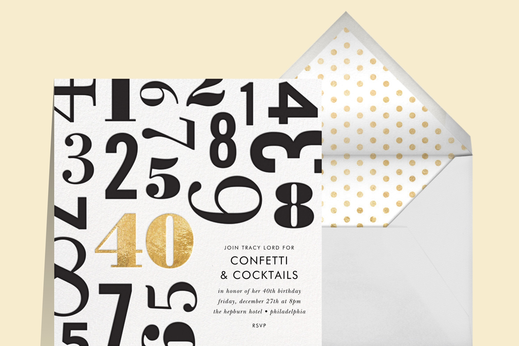 """""""Lucky Number"""" invitation by kate spade new york for Paperless Post, featuring type treatments of differently sized numbers with """"40"""" highlighted in gold."""