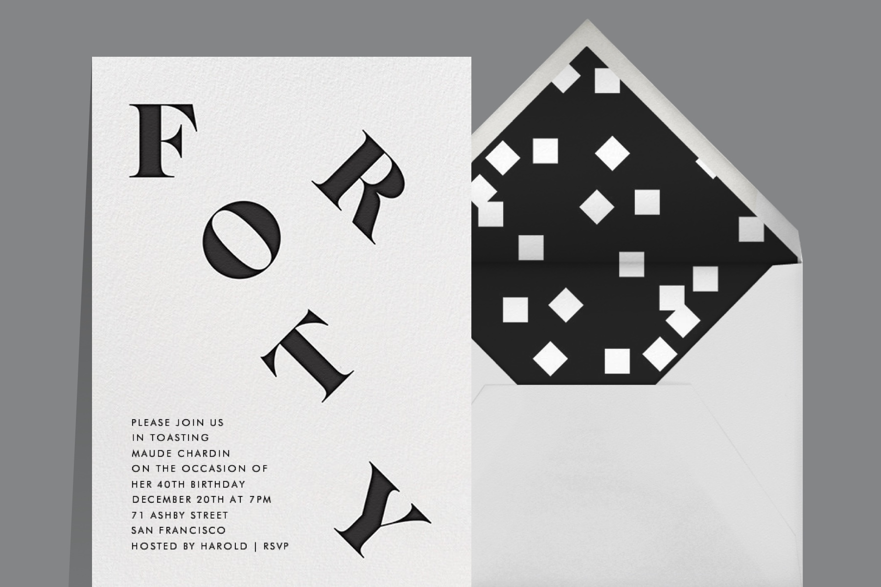 """""""It's All Uphill from Here (Forty)"""" invitation by Paperless Post, featuring type treatments of the word """"Forty"""" playfully laid out."""