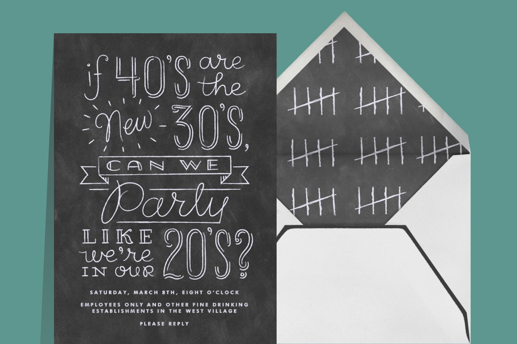 """""""Like We're in Our 20s"""" invitation by Derek Blasberg for Paperless Post, featuring playful text reading """"If 40's are the new 30's can we party like we're in our 20's?""""."""