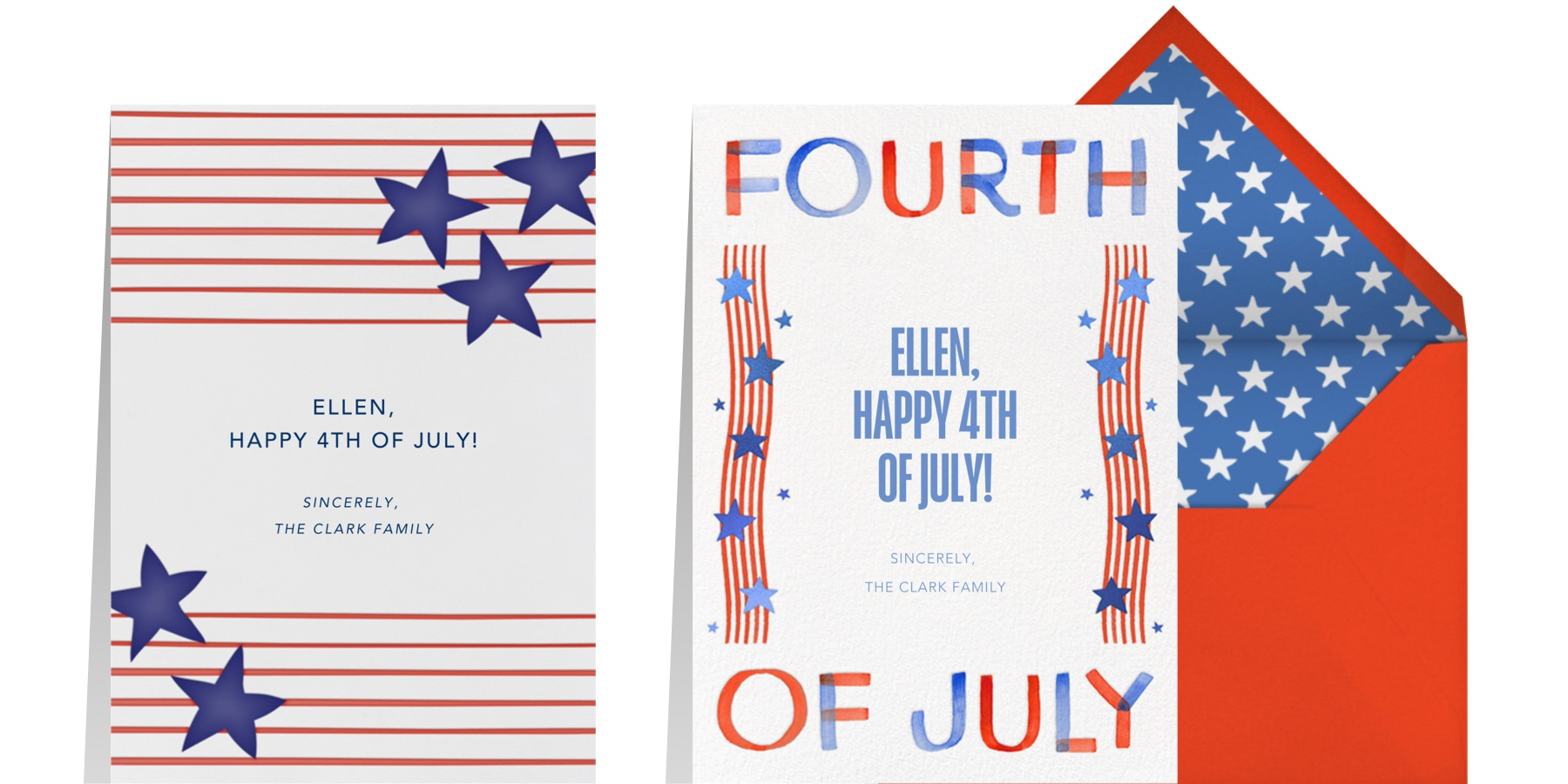 """""""Stars and Stripes"""" by Linda and Harriet for Paperless Post and """"Stars and Squiggles"""" by Paperless Post"""