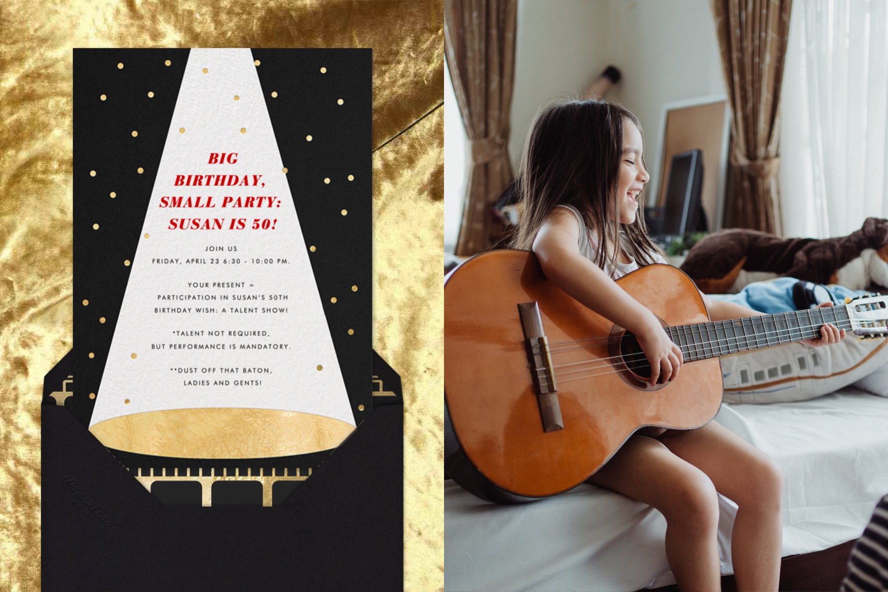 """Left: """"On the Spot"""" invitation by Paperless Post featuring an illustration of a spotlight on stage on a crushed velvet background. 