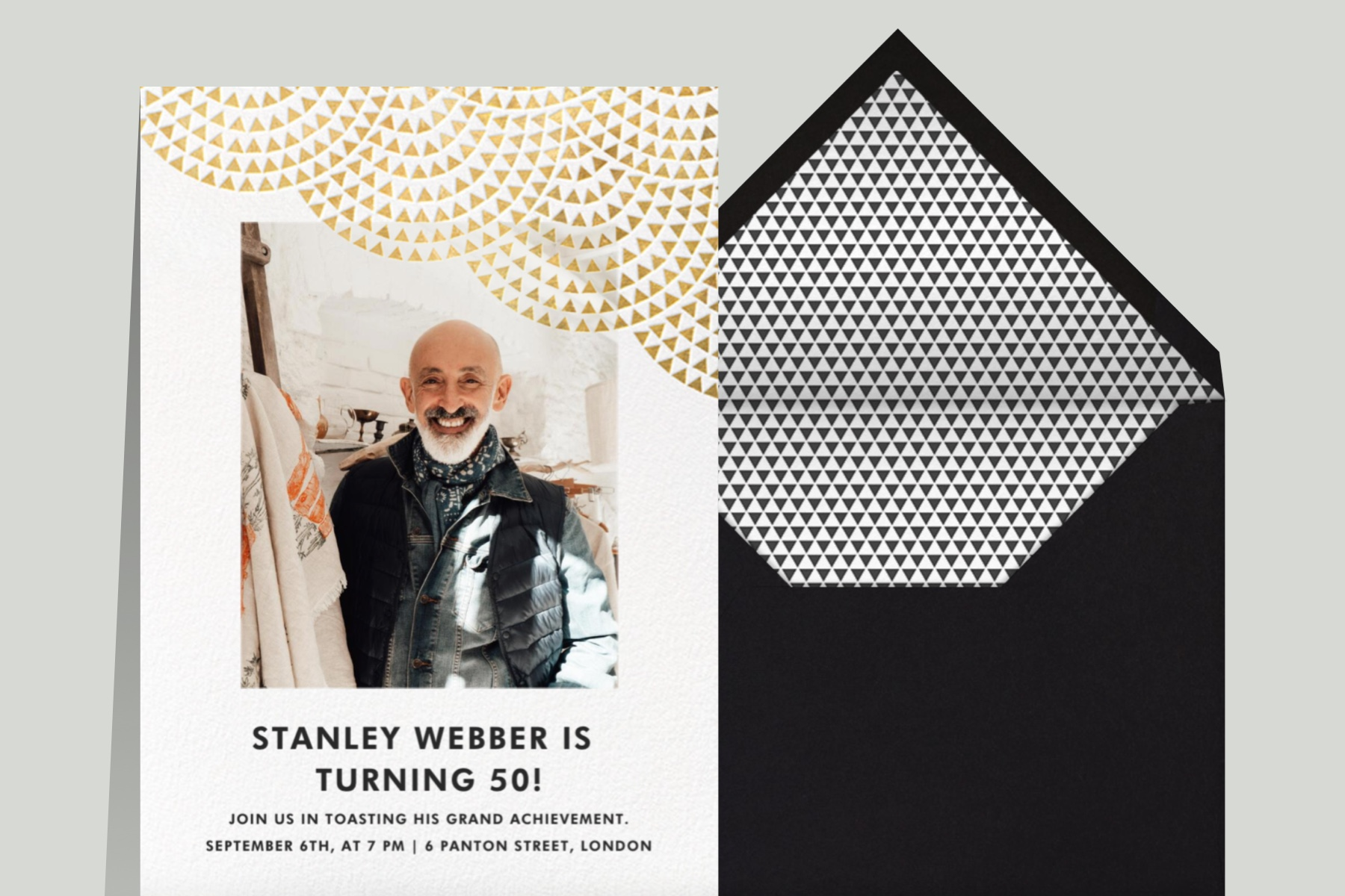 """""""Savoy - Gold"""" invitation by Paperless Post featuring a customizable photo opening and a triangle motif on a grey background."""