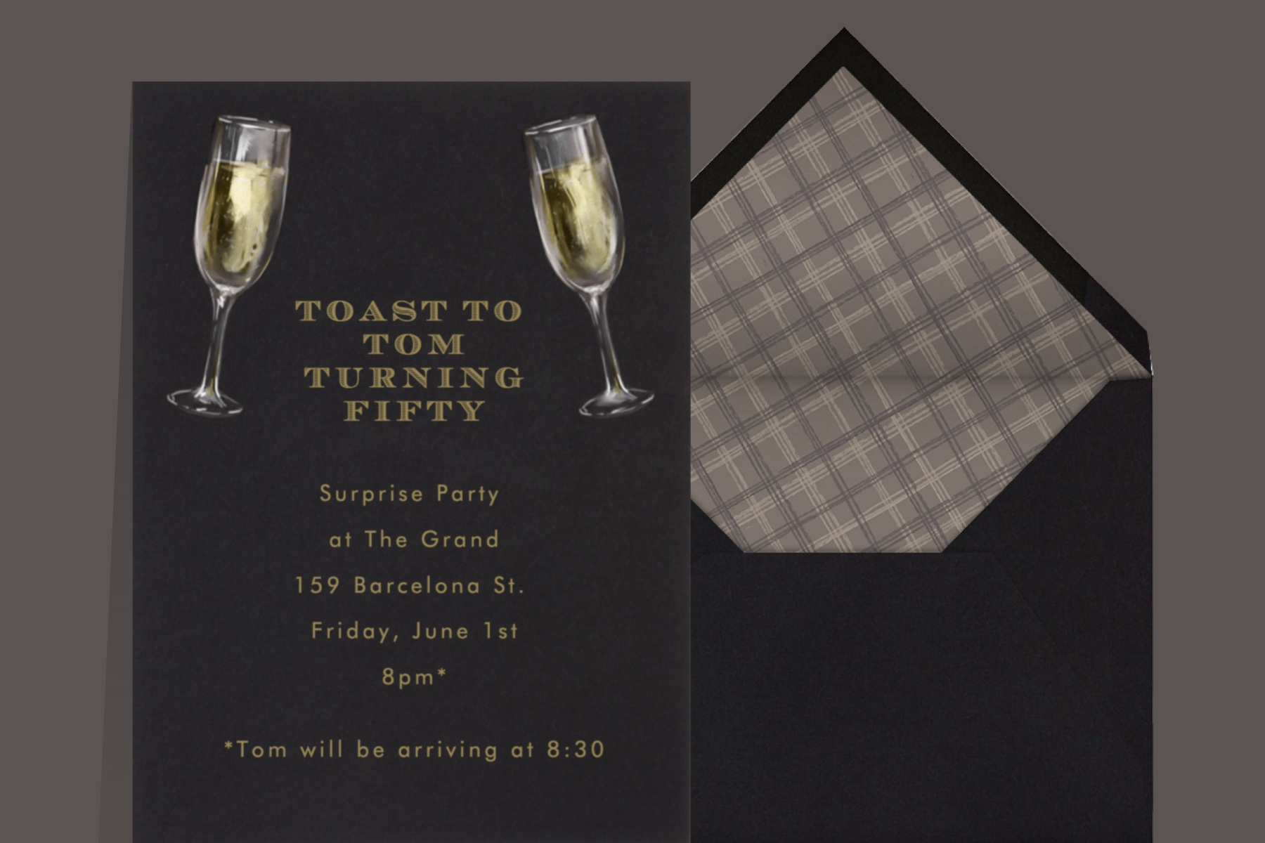 """""""Champagne Glasses"""" invitation by Paperless Post featuring an illustration of two champagne glasses on a dark grey background."""
