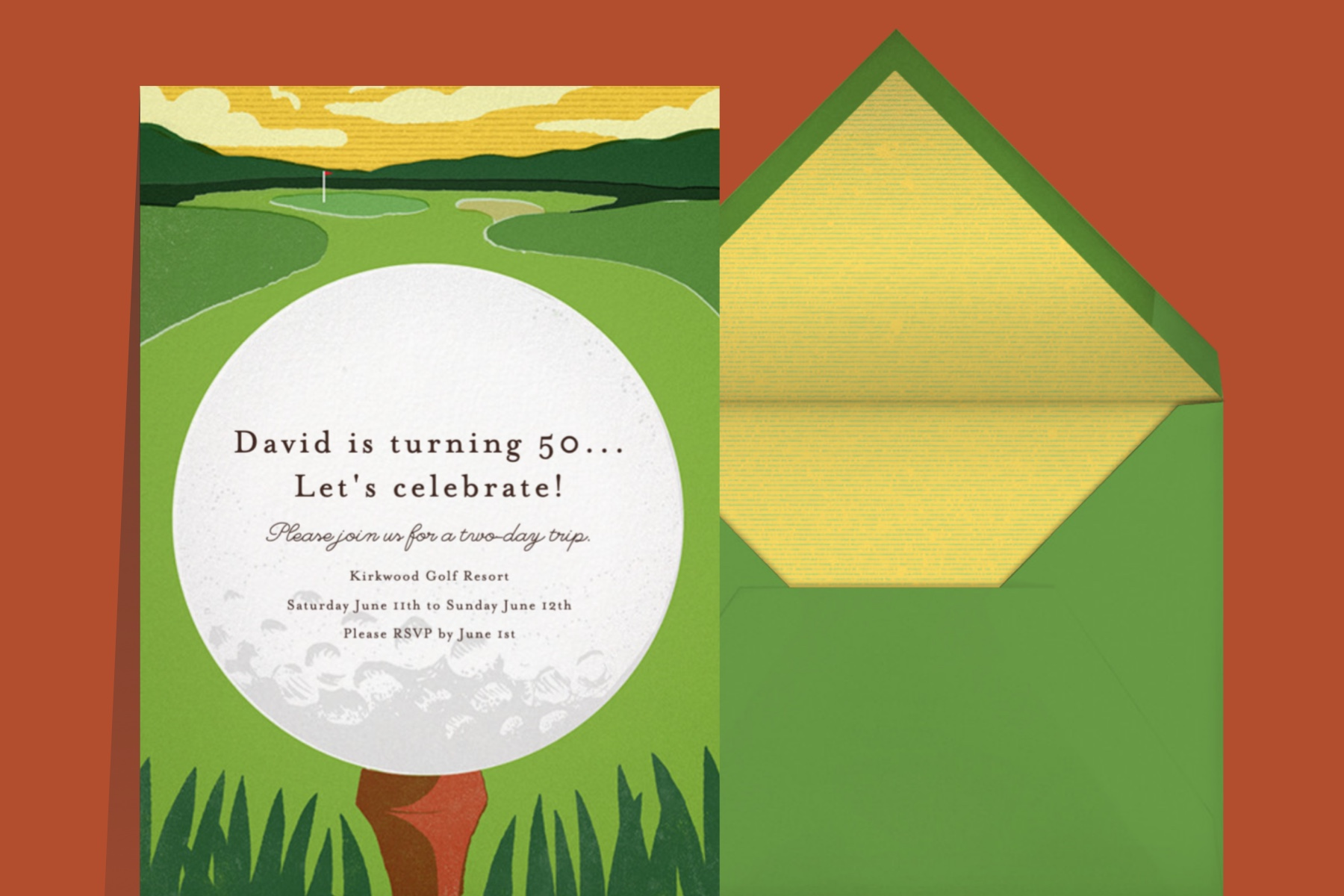 """""""Tee Time"""" invitation by Paperless Post featuring an illustration of a big golf ball on a green. The card is on a red background."""