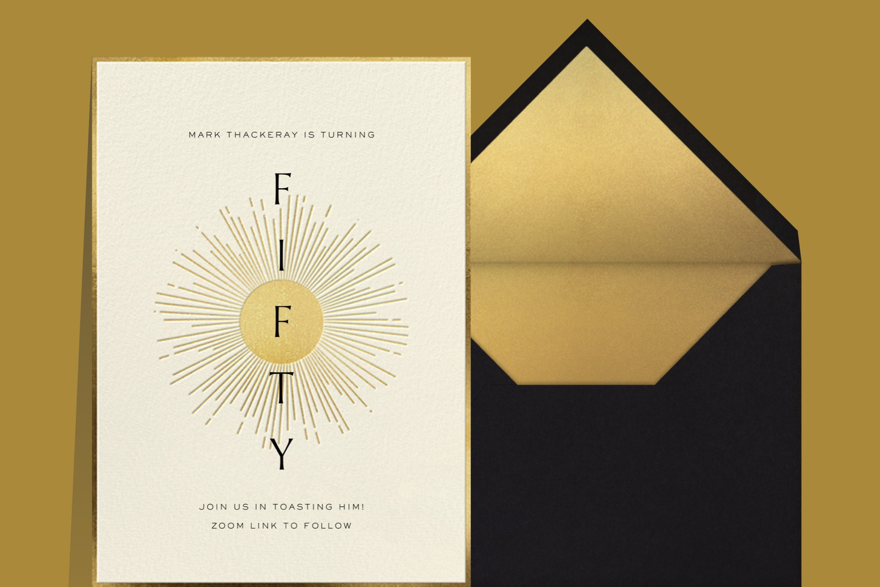 """""""Around the Sun"""" invitation by Paperless Post featuring an illustration of a golden sun with the word """"Fifty"""" written vertically down the center. The card is shown on a gold background."""
