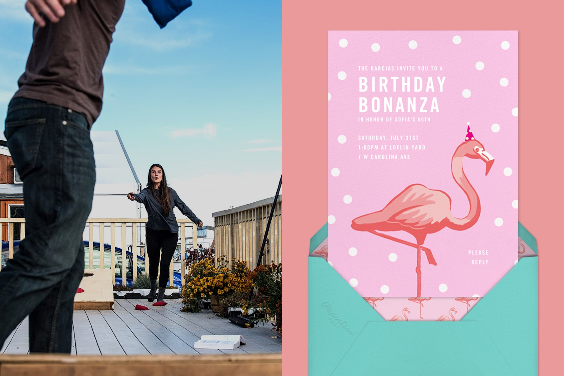 """Left: Two young people playing cornhole on a rooftop deck.   Right: """"Pink Flamingos"""" invitation by Paperless Post, featuring an illustration of a flamingo wearing a birthday hat."""