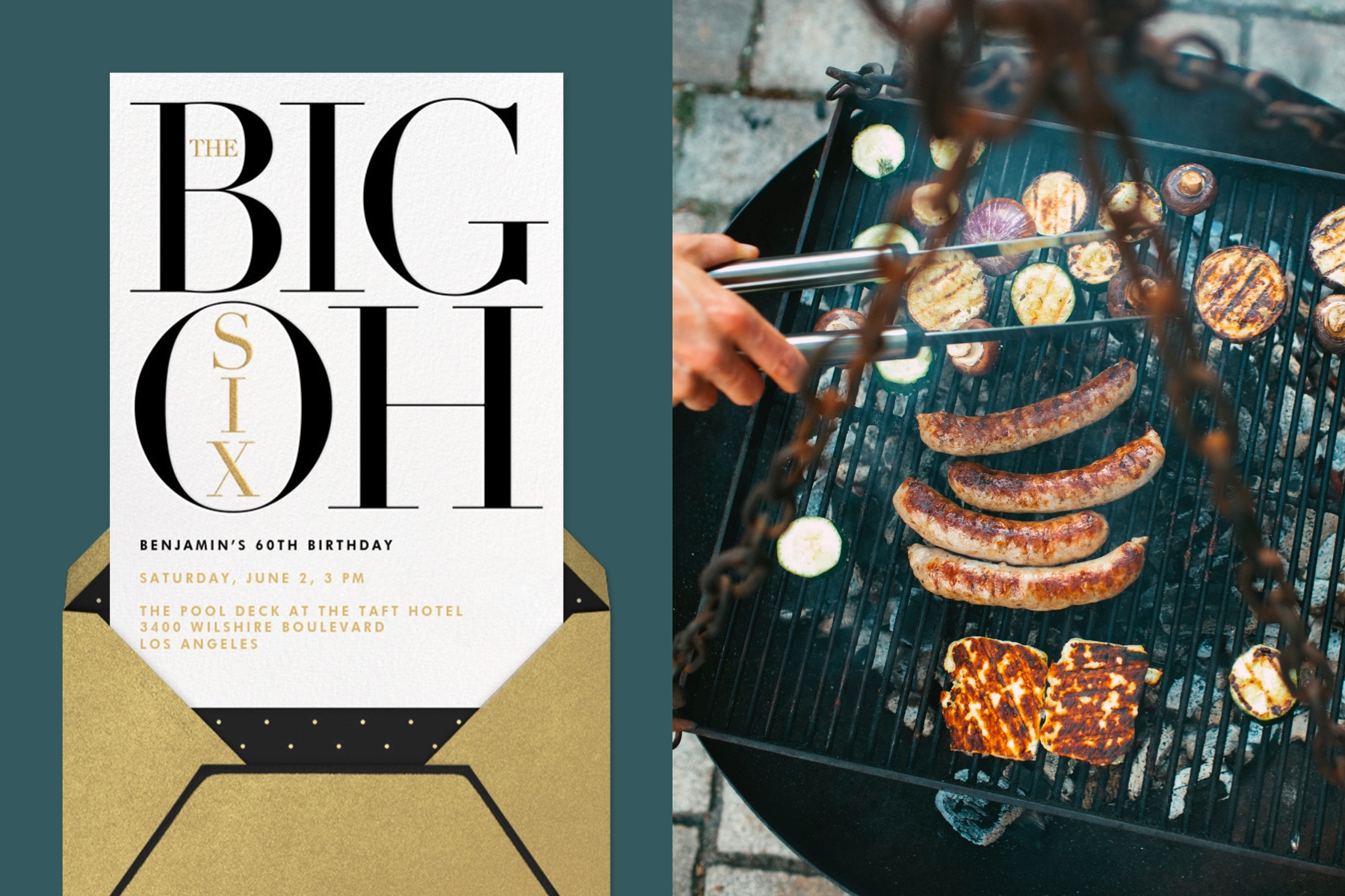 """Left: """"The Number Oh (Sixty)"""" invitation by Paperless Post, featuring a graphic type treatment for the words """"The Big Six Oh.""""   Right: Overhead image of a grill with cheese, vegetables, and meat."""
