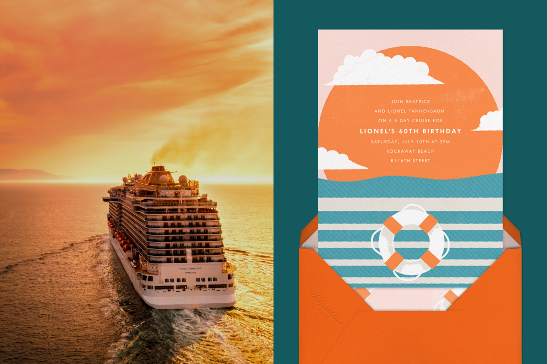 """Left: A cruise ship at sunset.   Right: """"Sailor's Delight"""" invitation by Paperless Post featuring an illustration of an orange life saver and sunset on a teal background."""