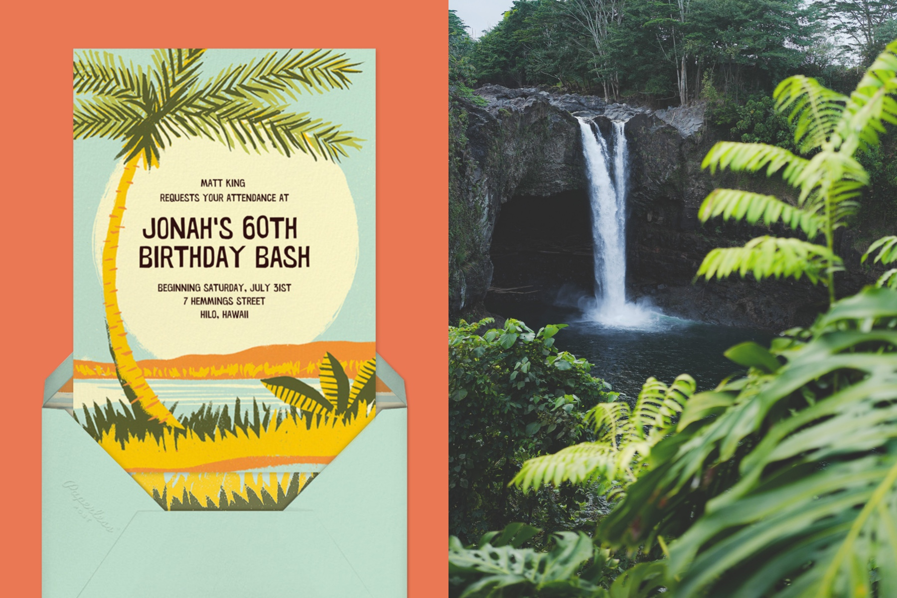 """Left: """"Seaside Sunrise"""" invitation by Paperless Post featuring a palm tree and beach scene on an orange background.   Right: Photo of a lush tropical waterfall."""