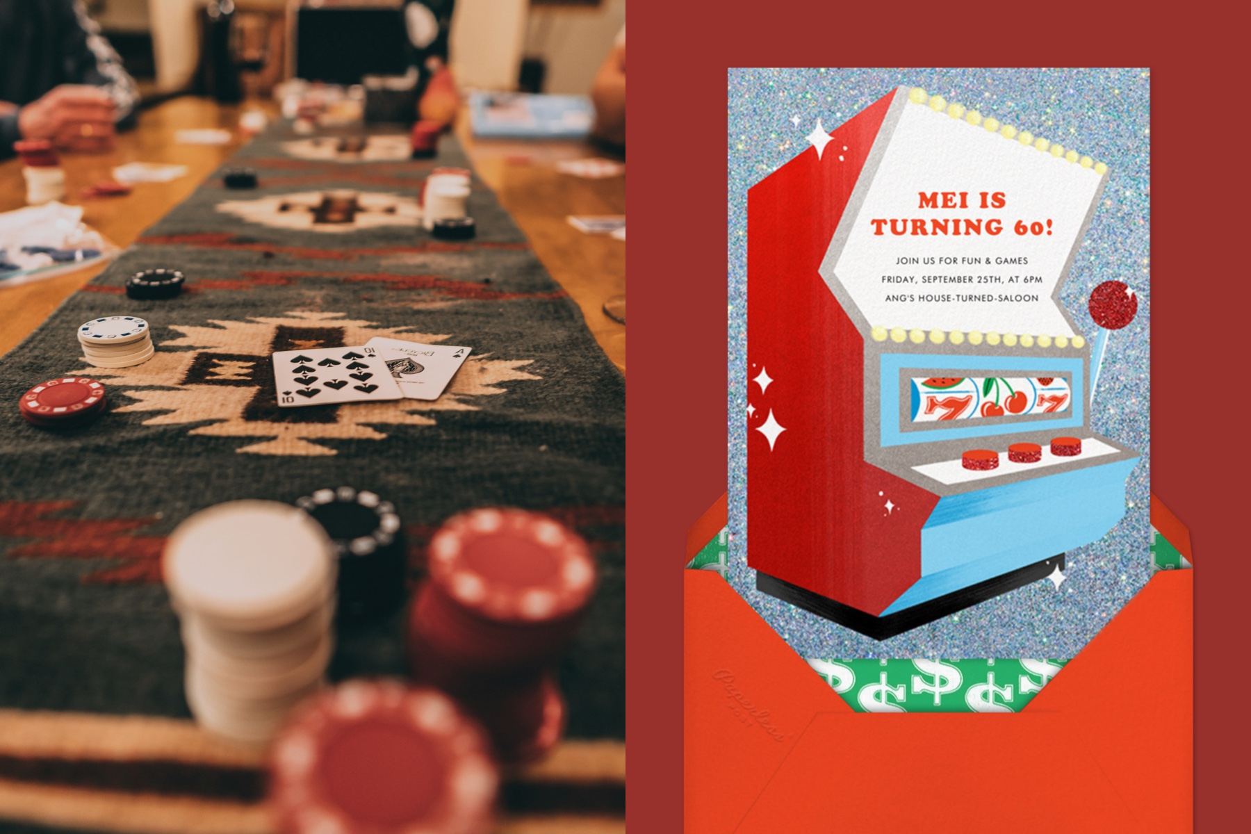 """Left: Close-up photo of a poker table.   Right: """"One-Armed Bandit"""" invitation by Paperless Post featuring an illustration of a slot machine."""