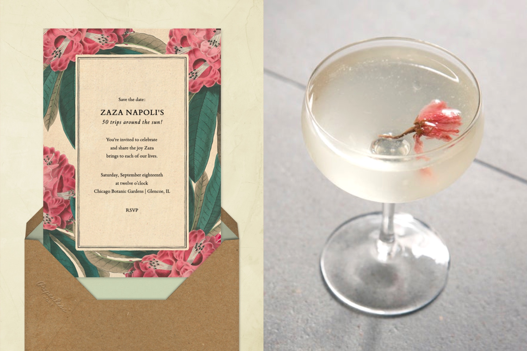 """Left: """"Azalea Grove"""" invitation by John Derian for Paperless Post featuring illustrations of azaleas. The card is featured on a cream background. 
