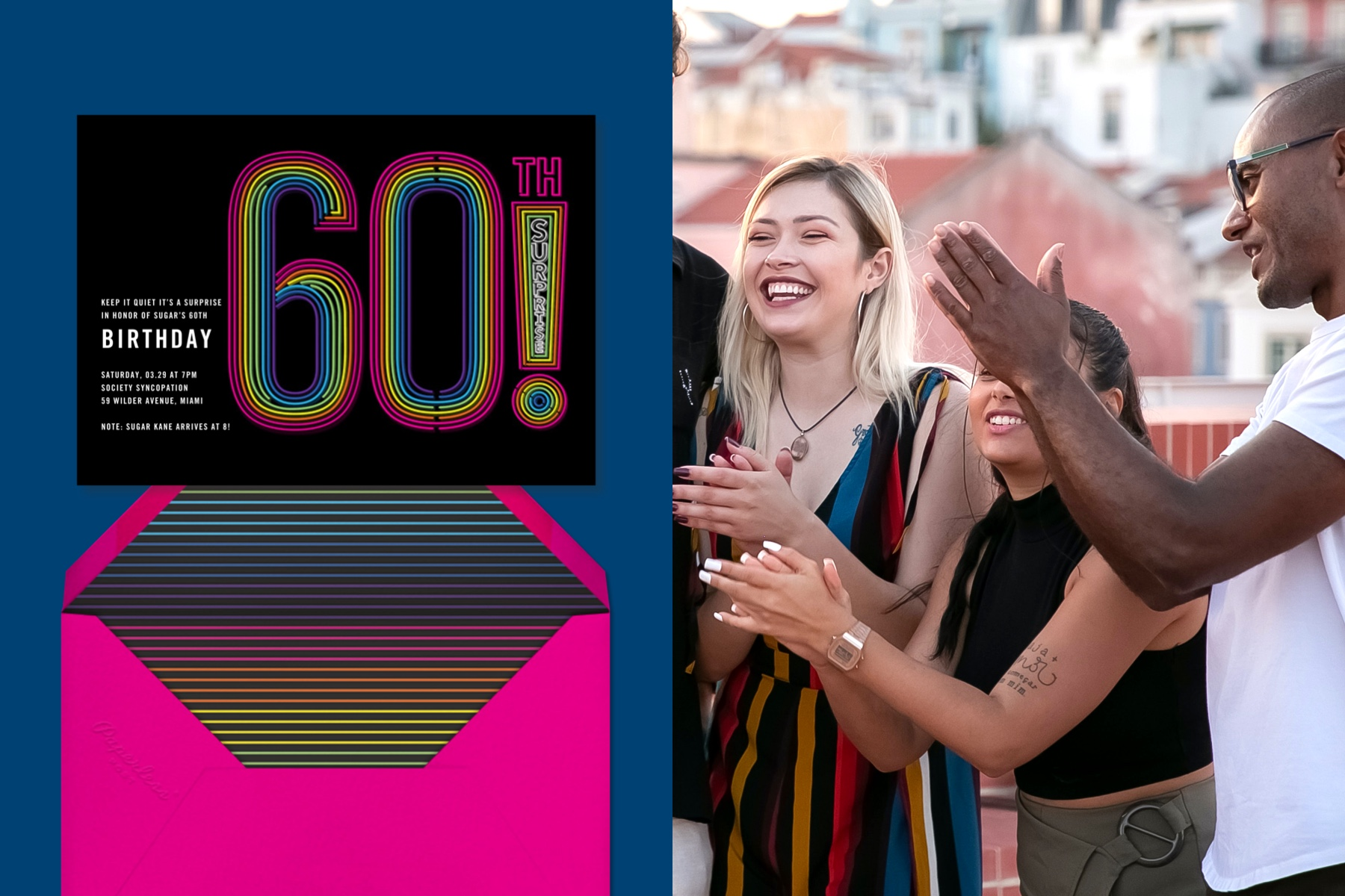 """Left: """"Neon Exclamation Surprise (60)"""" invitation by Paperless Post featuring graphic text treatments on the word """"60th!"""".   Right: Photo of three young people clapping their hands on a rooftop."""