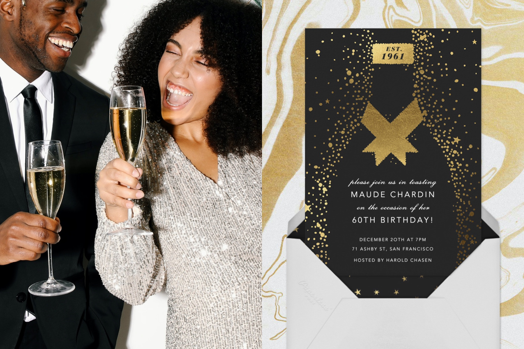 """Left: Photo of a young couple dressed in a suit and a sparkly dress having fun together and drinking champagne.   Right: """"Grand Cru"""" invitation by Paperless Post featuring a black and gold illustration of champagne."""