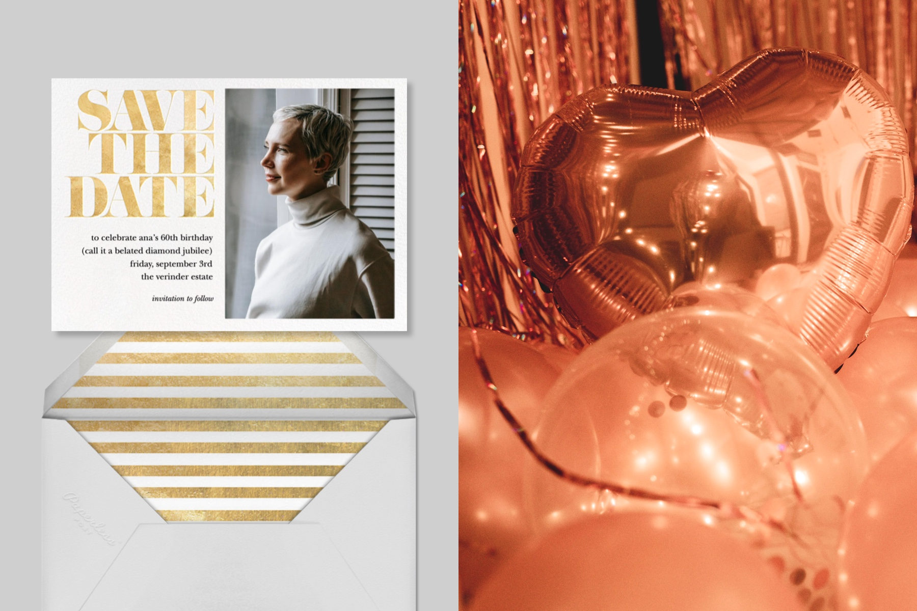 """Left: """"Vintage Book Save the Date"""" invitation by kate spade new york for Paperless Post featuring a photo opening for your photo of choice.   Right: Close-up photo of rose-gold heart balloons."""
