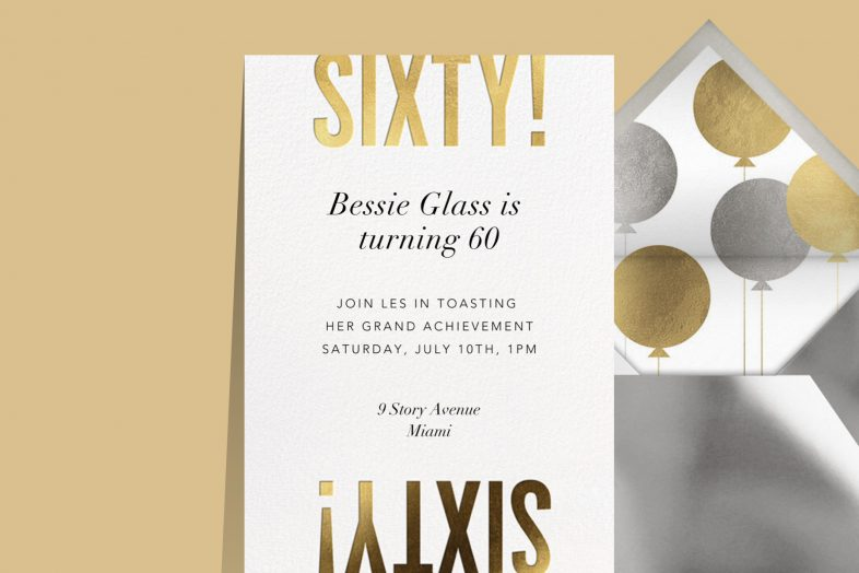 """""""Flip the Script"""" invitation by Paperless Post featuring the word """"Sixty"""" both rightside-up and upside-down."""