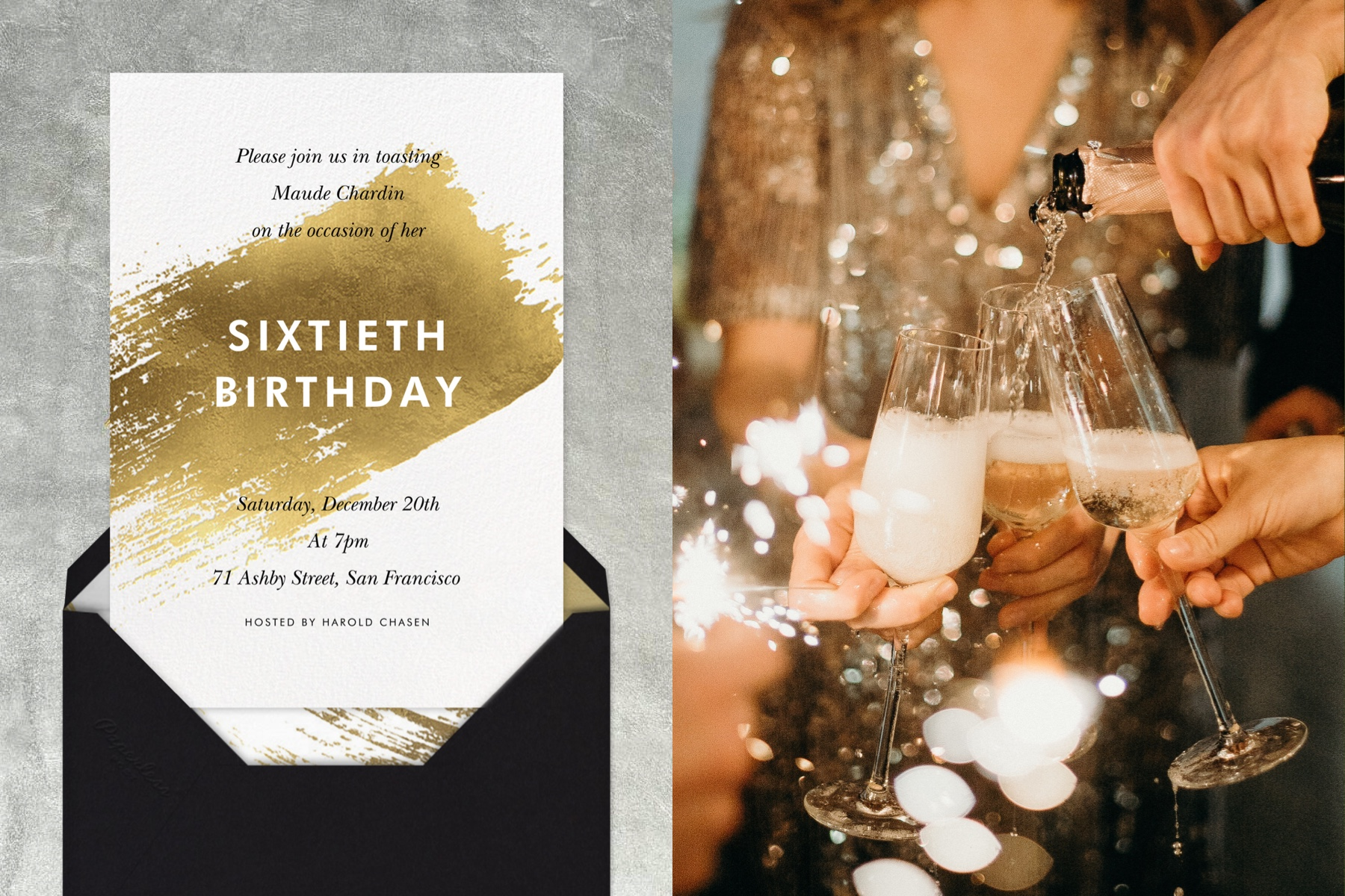 """Left: """"Impasto - Gold"""" invitation by Paperless Post featuring a gold paint swipe.   Right: Close-up image of friends pouring champagne into glasses."""