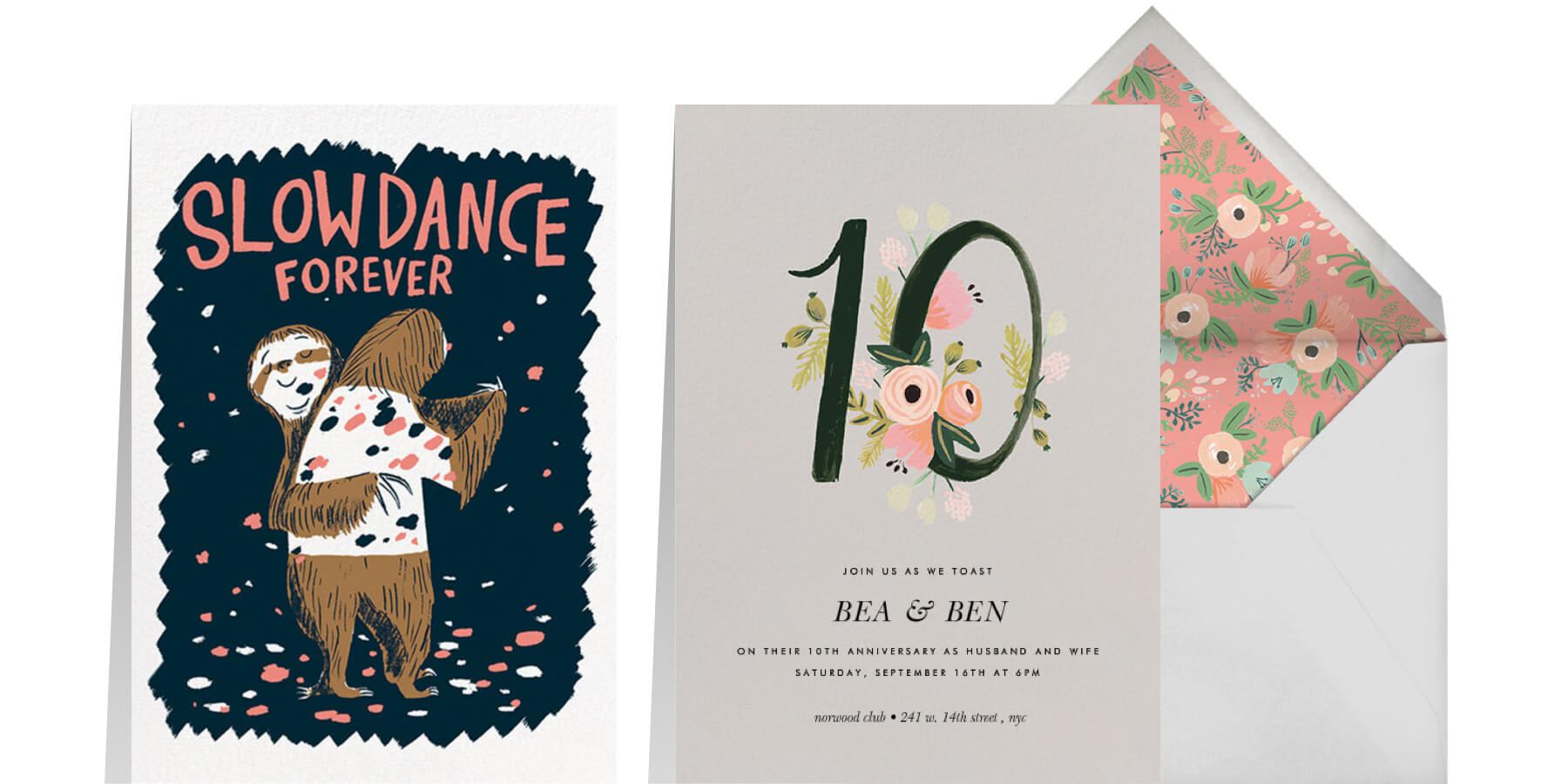 """Left: """"Slow Dance (Nicholas John Frith)"""" by Red Cap Cards for Paperless Post 
