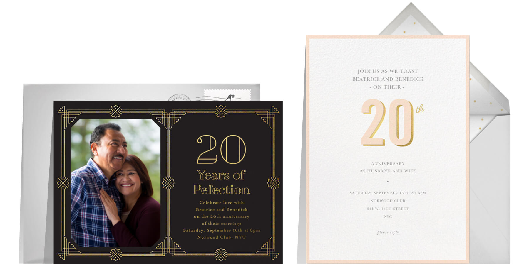 """Left: """"Gilt Border Birthday"""" by Paperless Post 