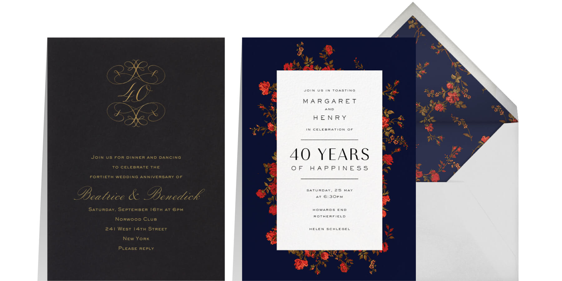 """Left: """"40th Anniversary"""" by Bernard Maisner for Paperless Post 