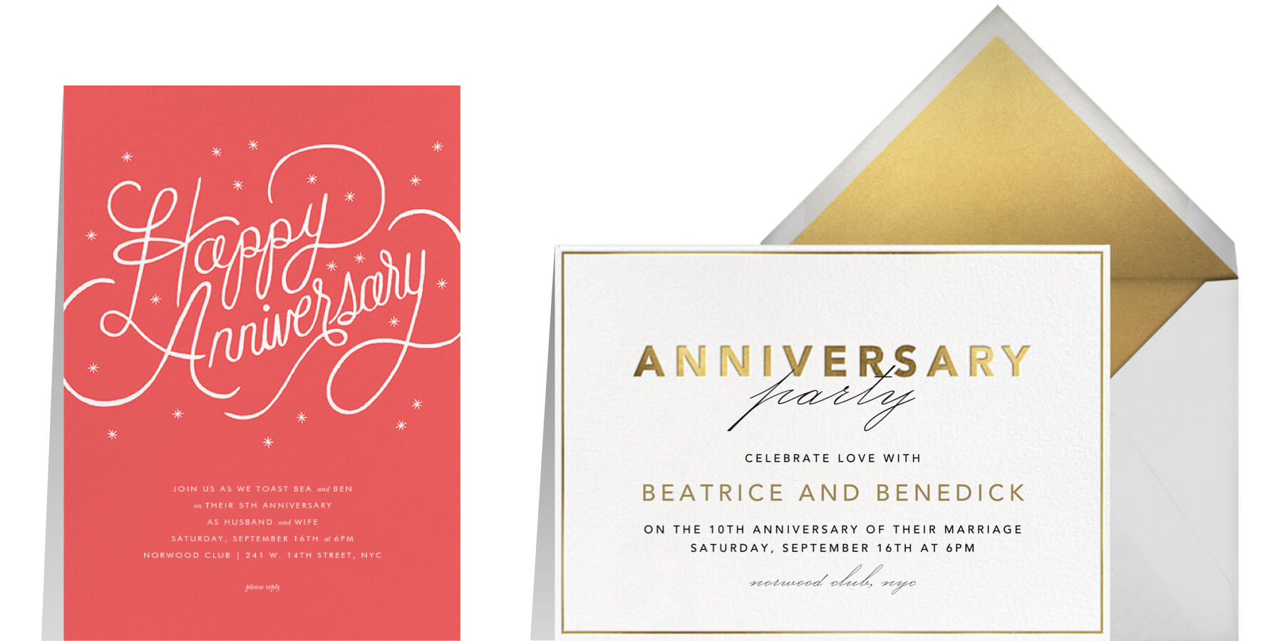 """Left: """"Starlit Anniversary - Coral"""" by Paperless Post 