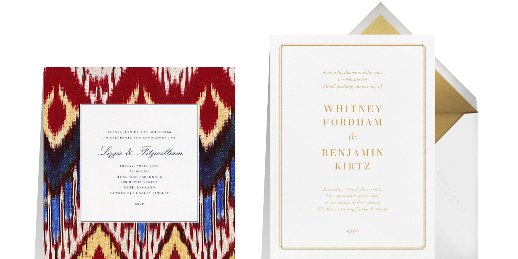 """Left: """"Ikat"""" by Oscar de la Renta for Paperless Post 