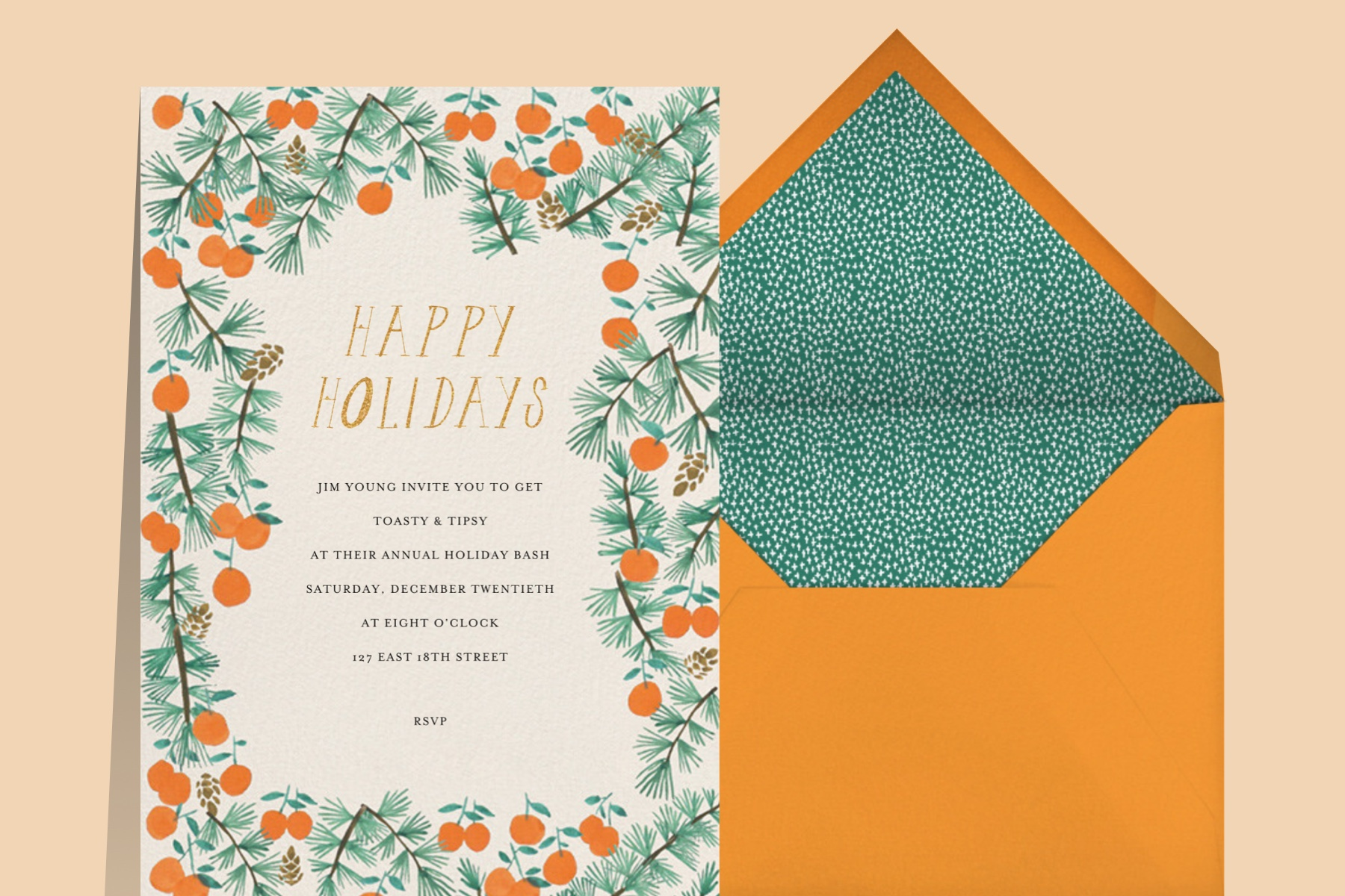 citrus holiday card design ideas from Paperless Post