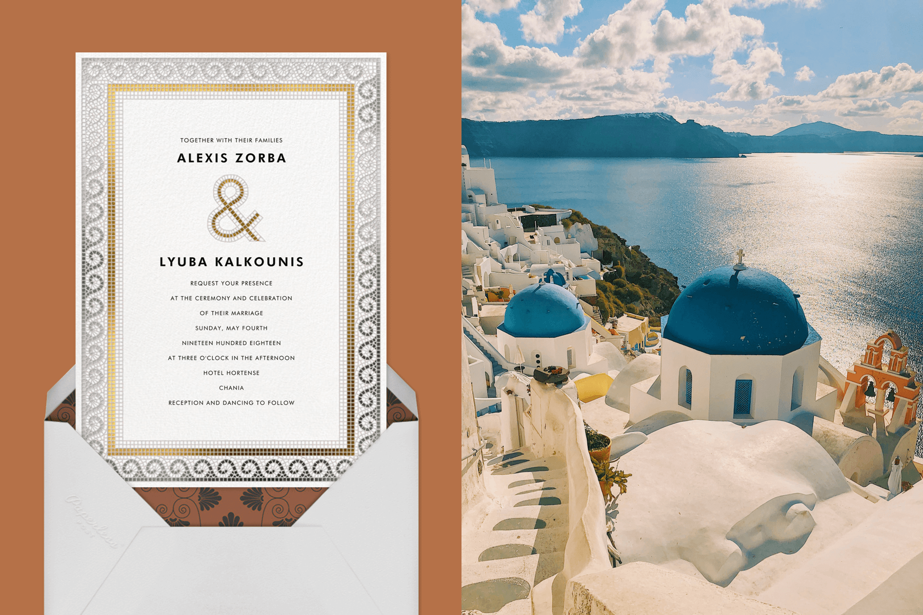 """Left: """"Tesserae"""" by Paperless Post   Right: White and Blue buildings by the sea in Greece"""