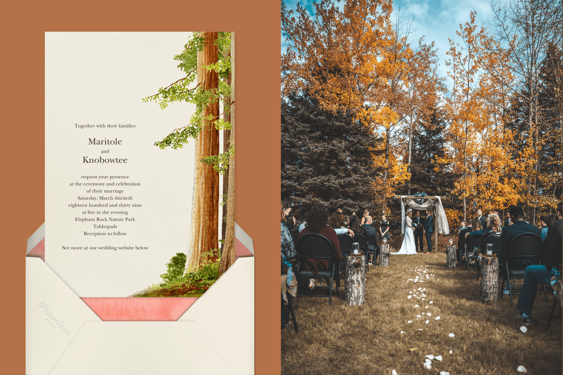 """""""Sequoia"""" by Felix Doolittle for Paperless Post   Bride and groom at an alter in a pine forest"""