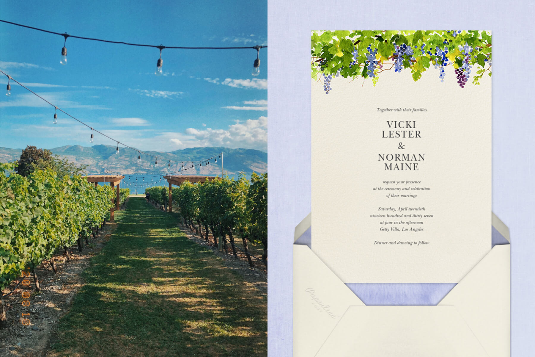 """Left: Winery in Napa   """"Napa"""" by Felix Doolittle for Paperless Post"""