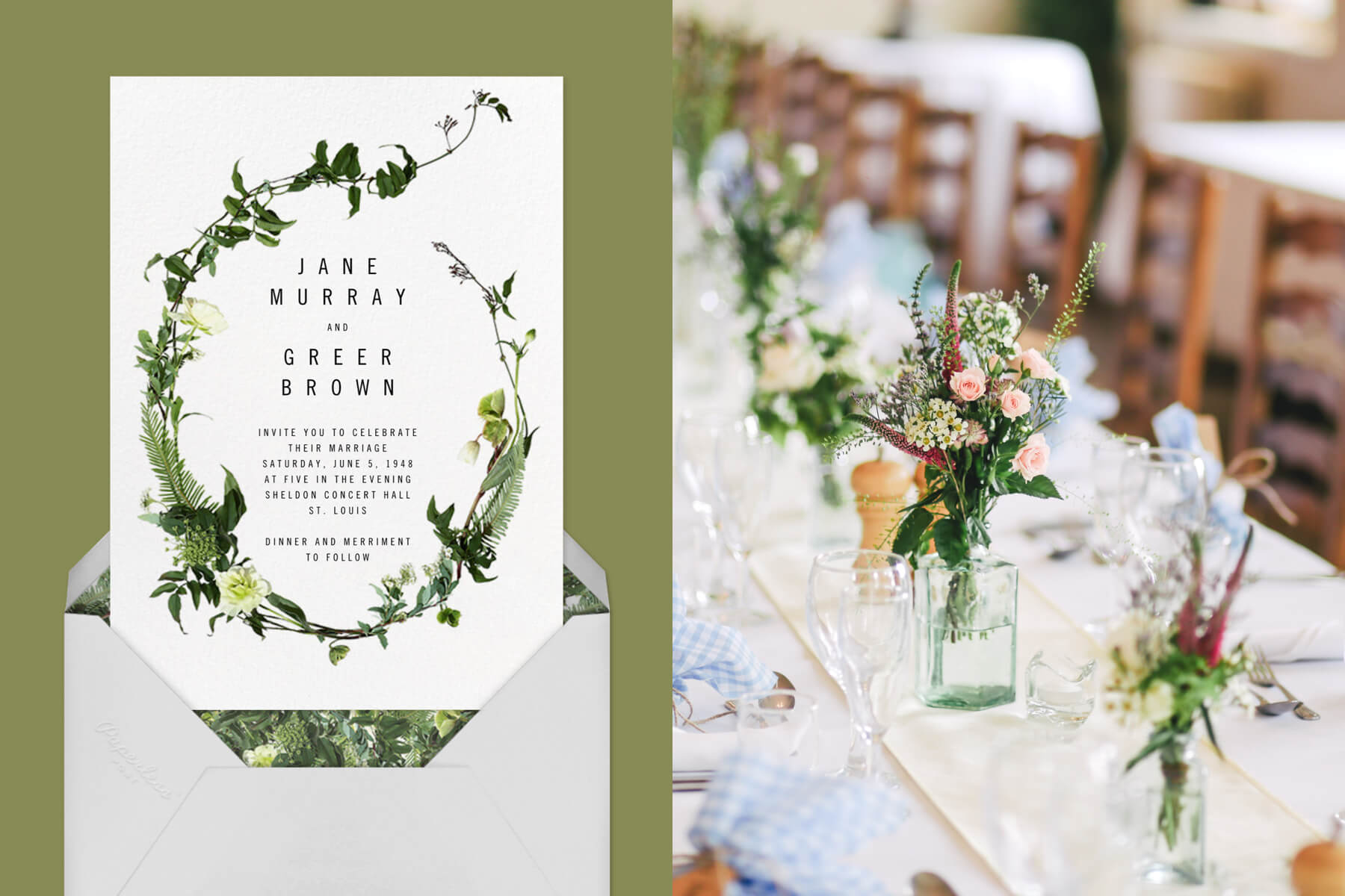 """Left: """"Cincoteague"""" by Paperless Post   Right: A white table setting with greenery"""
