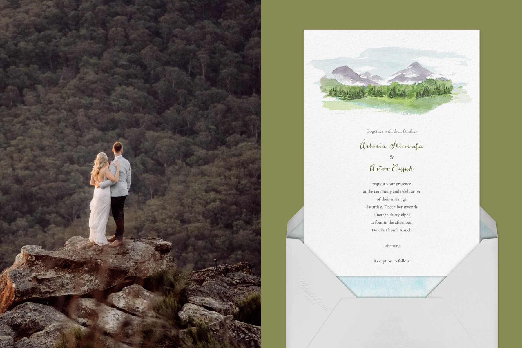"""Left: A couple standing on top of a mountain looking off into the distance   Right: """"Mountain Scene"""" by Paperless Post"""