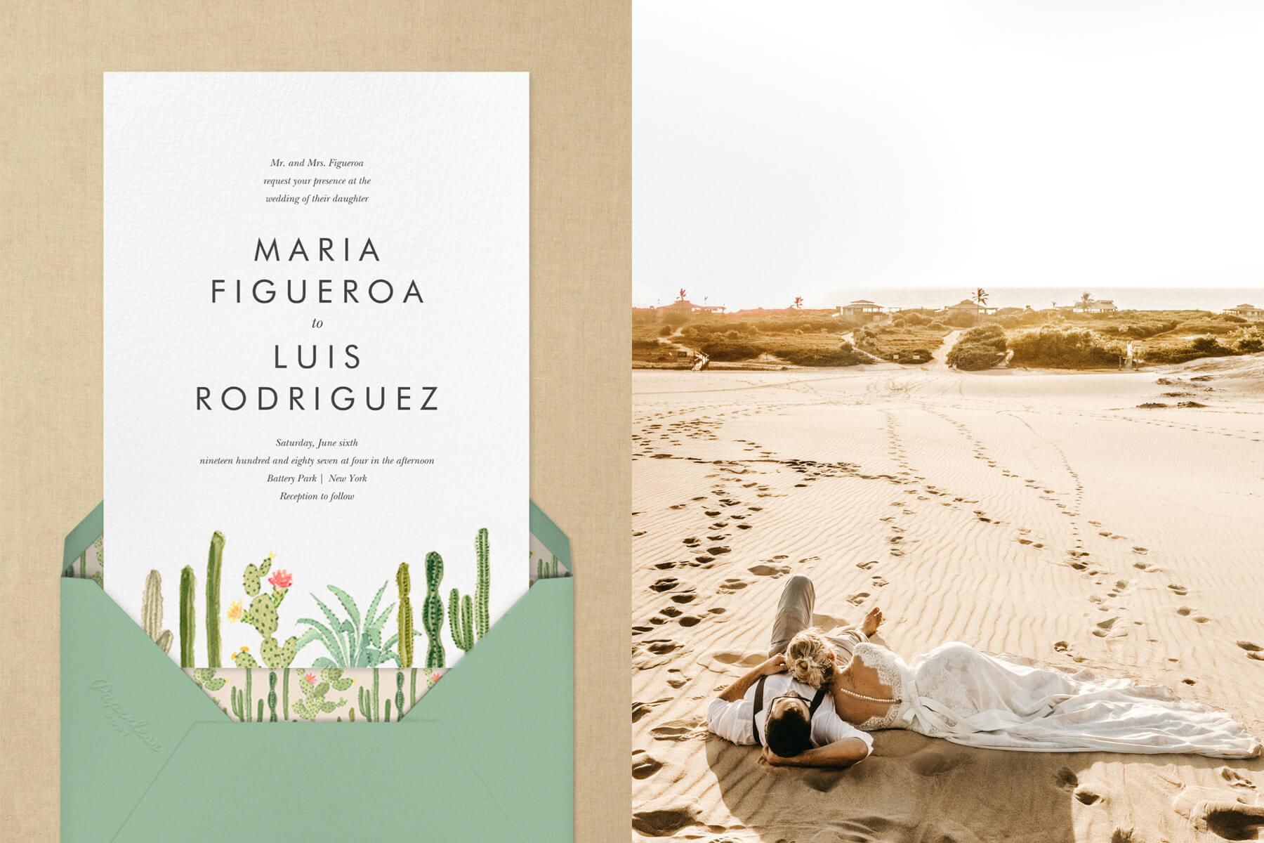 """Left: """"Sonora"""" by Paperless Post   A couple laying in the sand in the desert"""