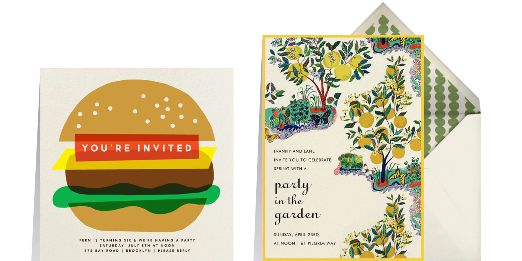 Left: Burger Beer by The Indigo Bunting for Paperless Post. Right: Exuberance by Schumacher for Paperless Post