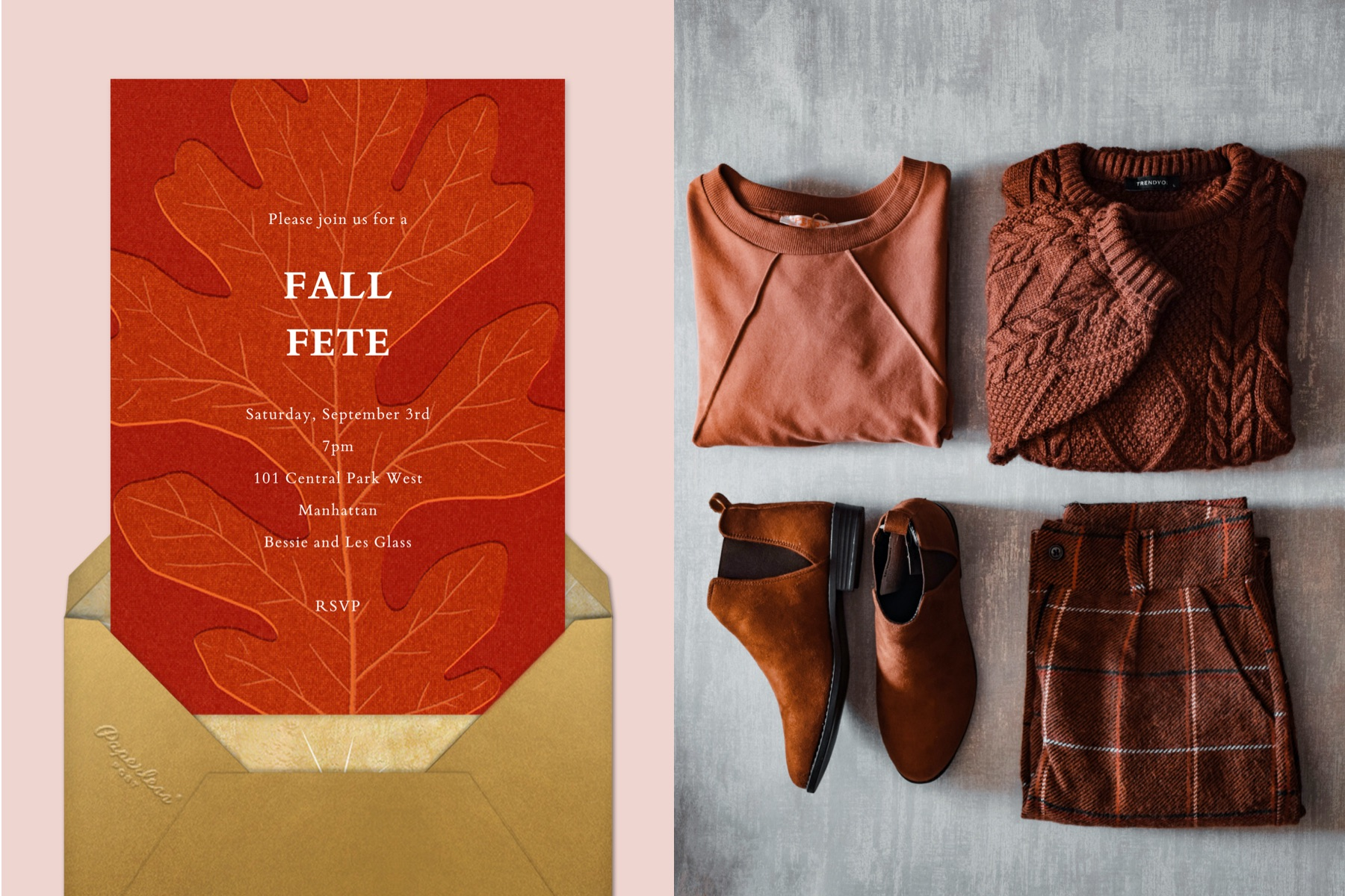 A red party invitation with a large oak leaf   Right: a flat-lay of folded brown autumnal clothing.
