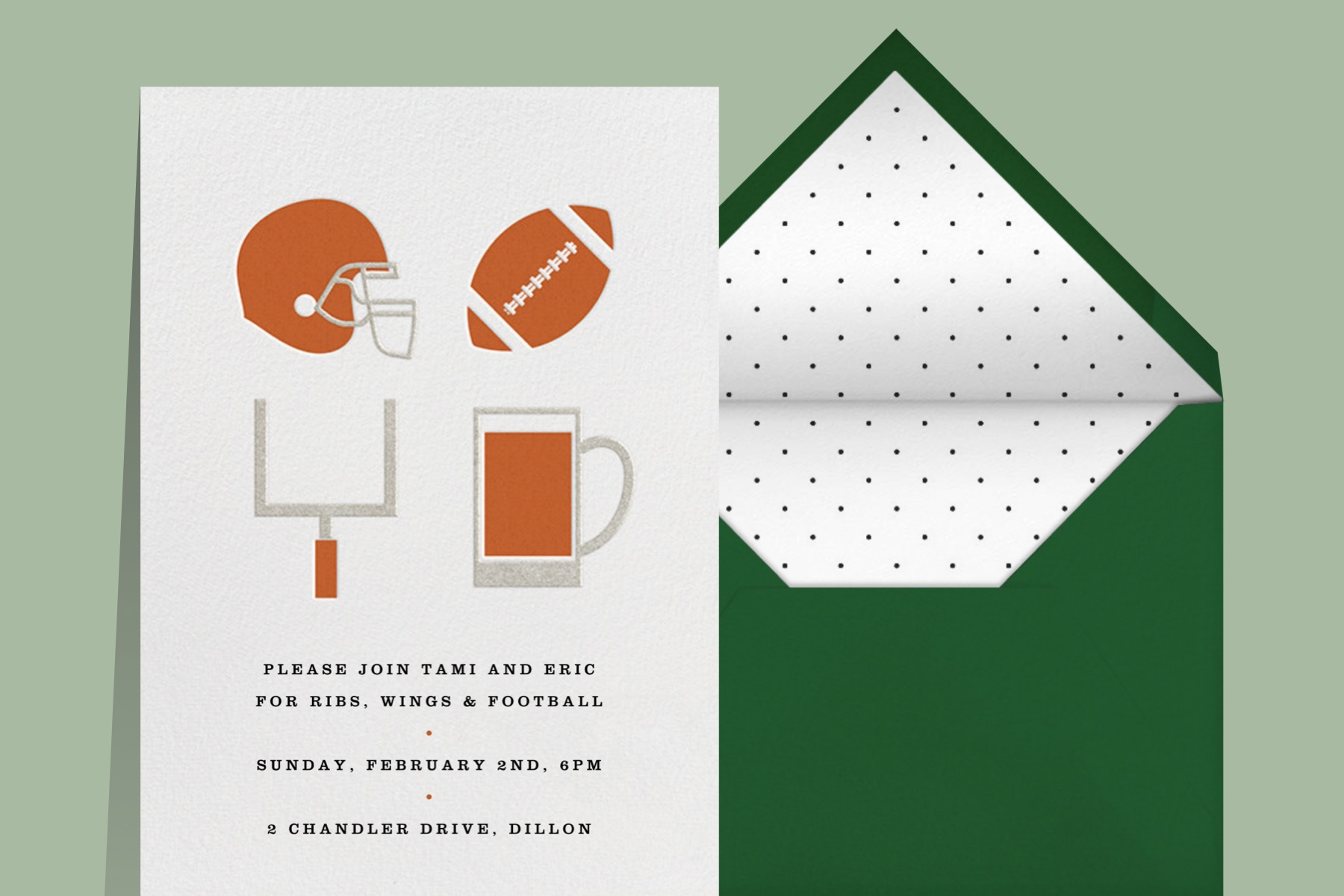 A party invitation with simplified illustrations of football paraphernalia and beer.