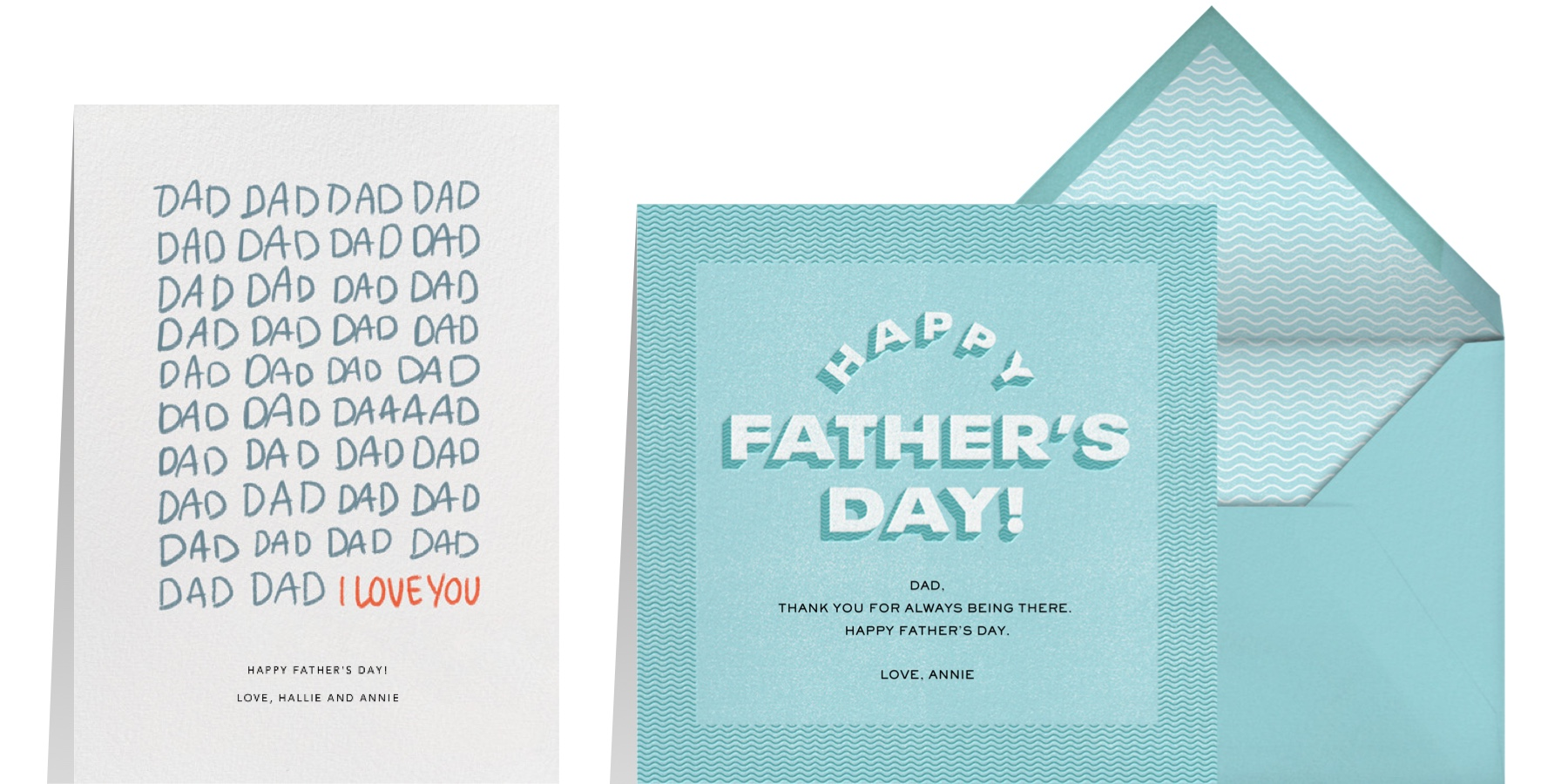 """""""DadDadDad"""" by Paperless Post and """"Blue Waves"""" by Paperless Post"""