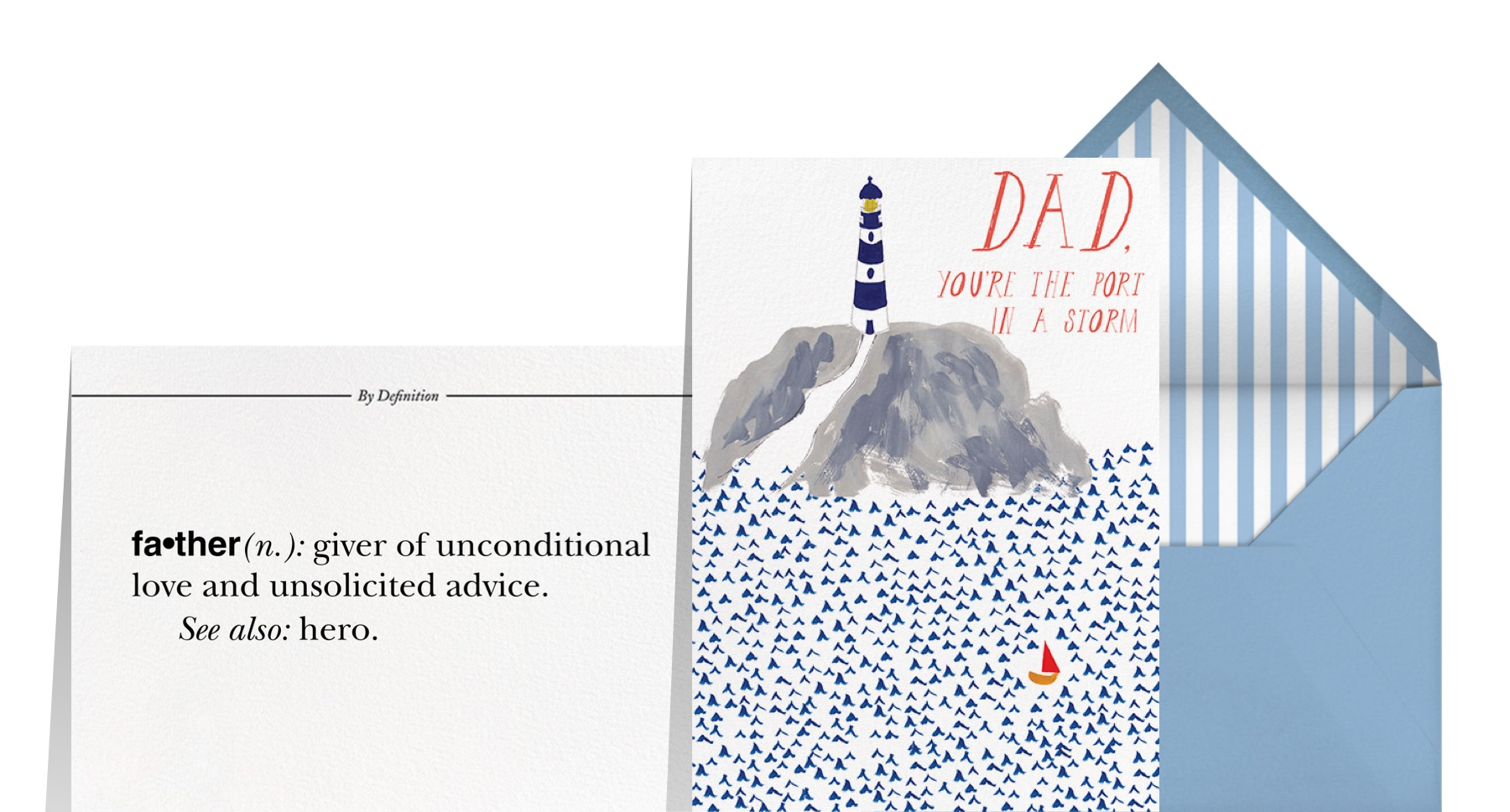"""""""Father by Definition"""" by Paperless Post and """"A Little Lost Sailboat"""" by Mr. Boddington's Studio for Paperless Post"""